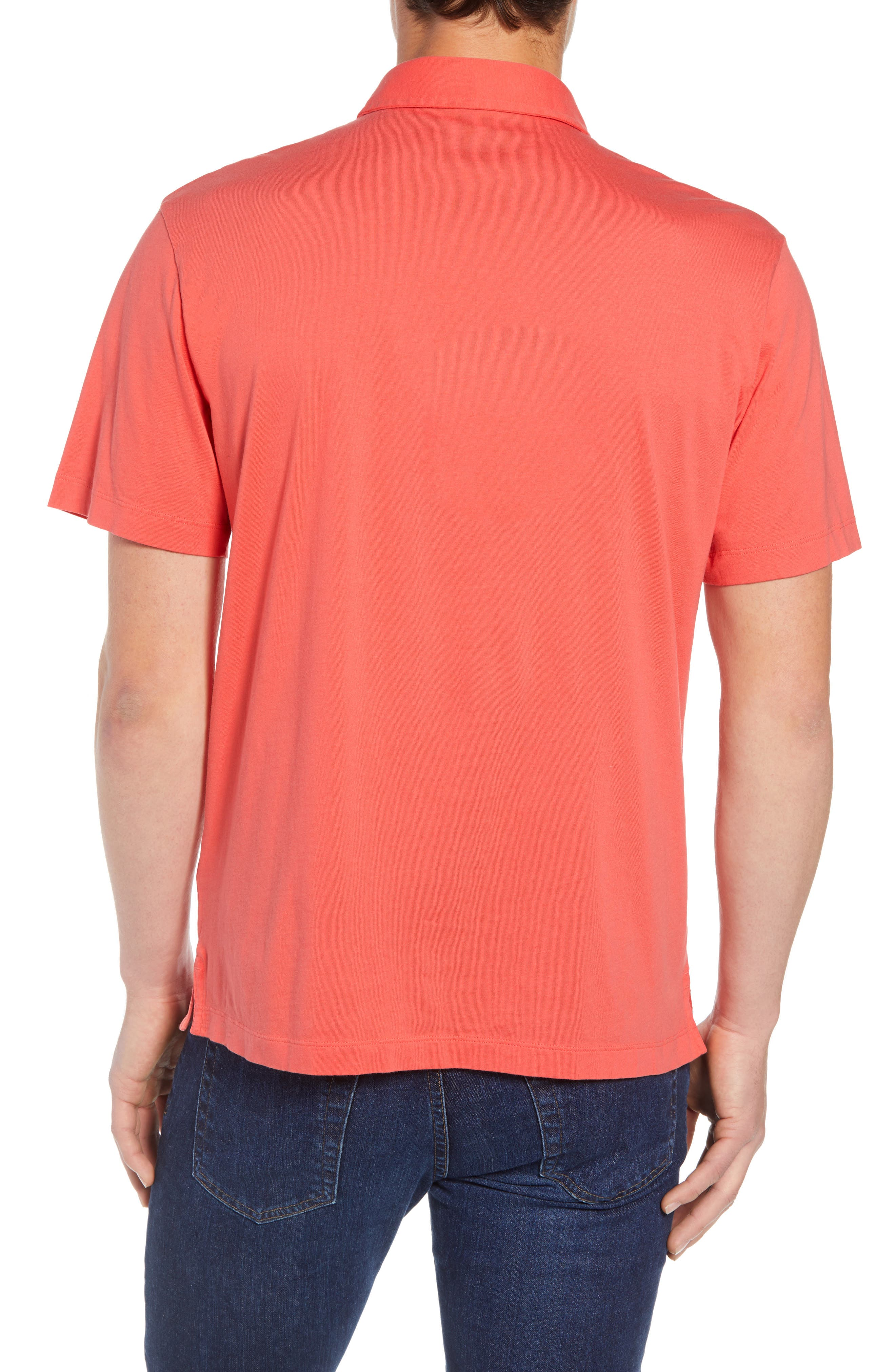 'Trout Fitz Roy' Organic Cotton Polo,                             Alternate thumbnail 2, color,                             SPICED CORAL