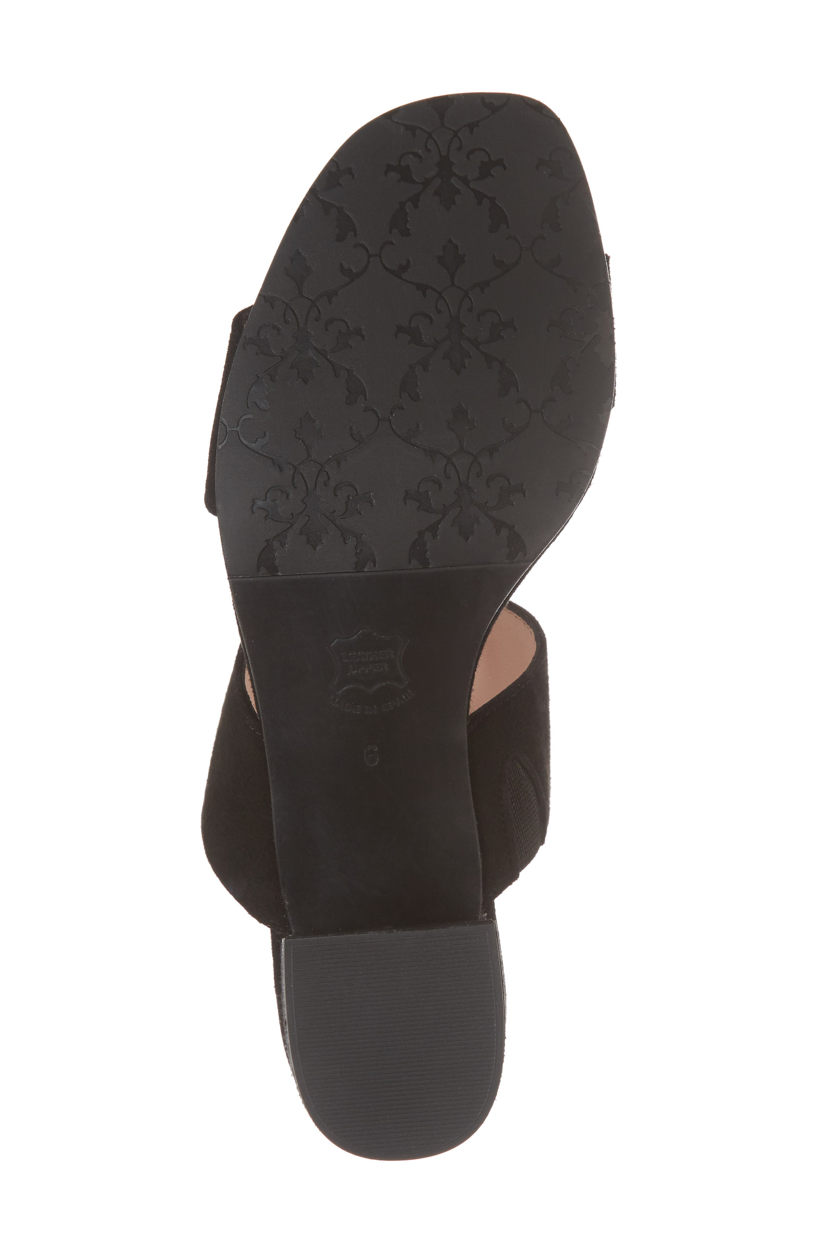 Lola Slide Sandal,                             Alternate thumbnail 6, color,                             BLACK SUEDE