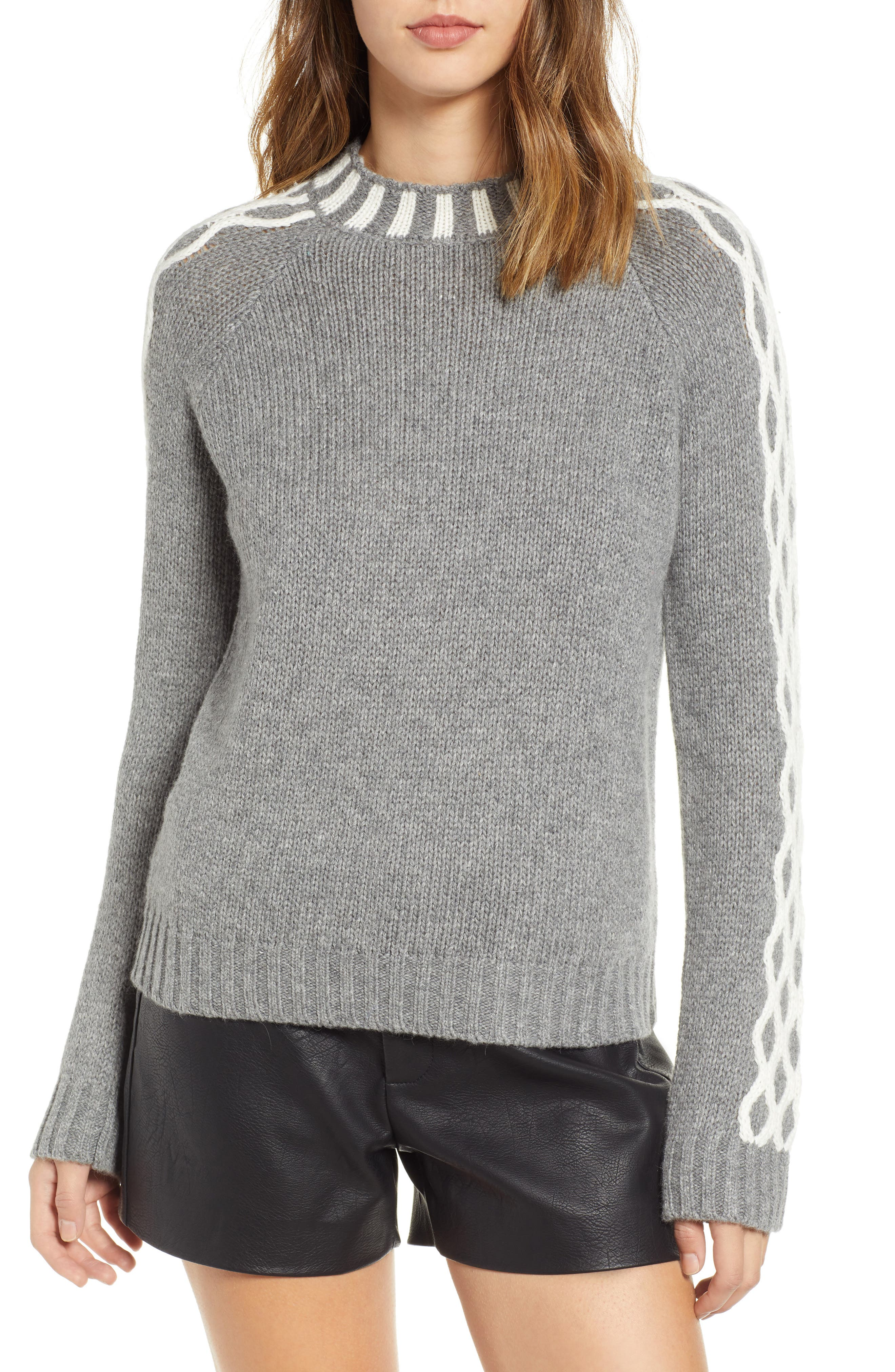 ENDLESS ROSE Contrast Knit Sweater in Grey