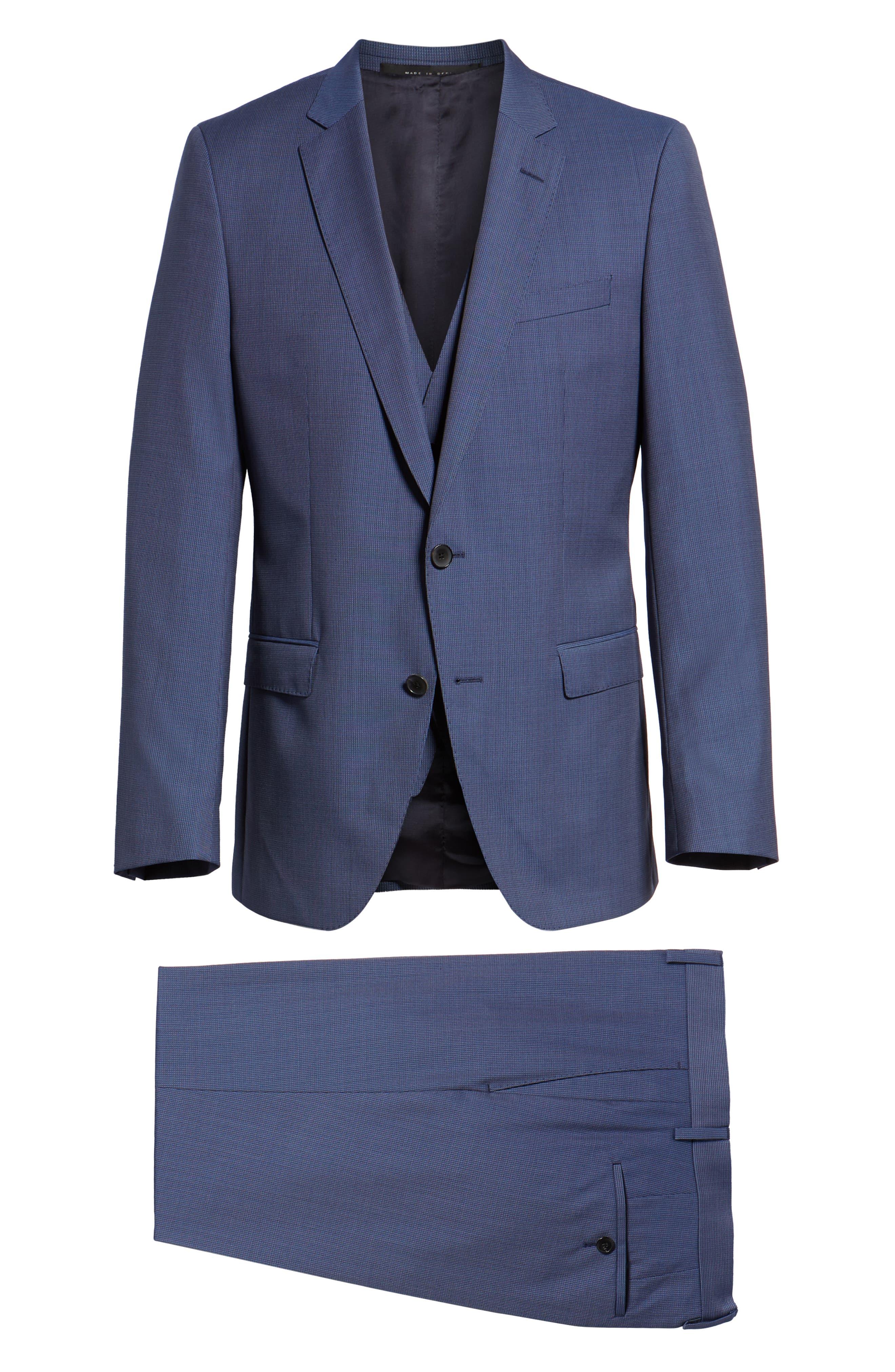 Huge/Genius Trim Fit Solid Three Piece Wool Suit,                             Alternate thumbnail 10, color,                             BLUE