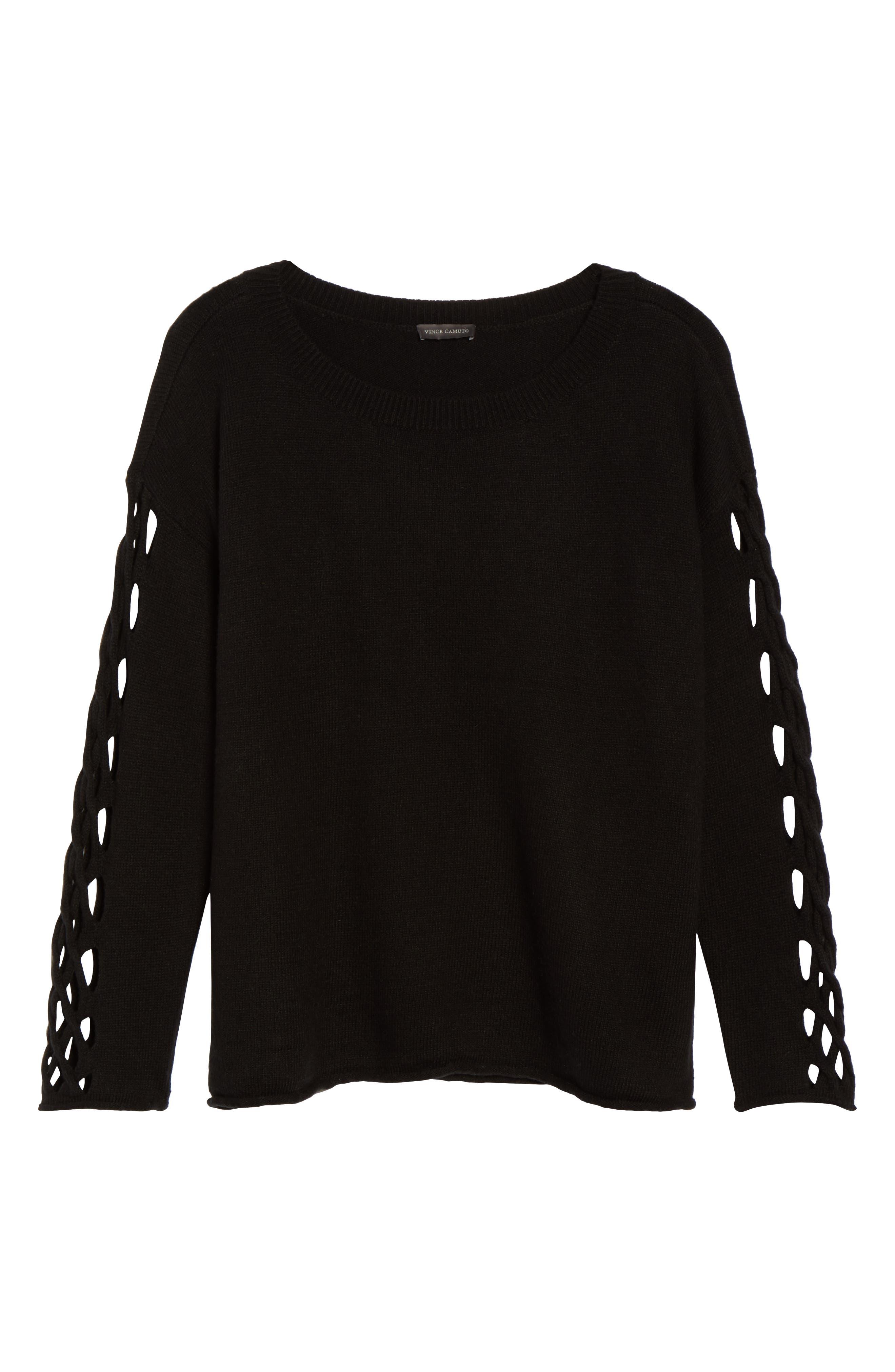 Braided Crewneck Sweater,                             Alternate thumbnail 6, color,                             011