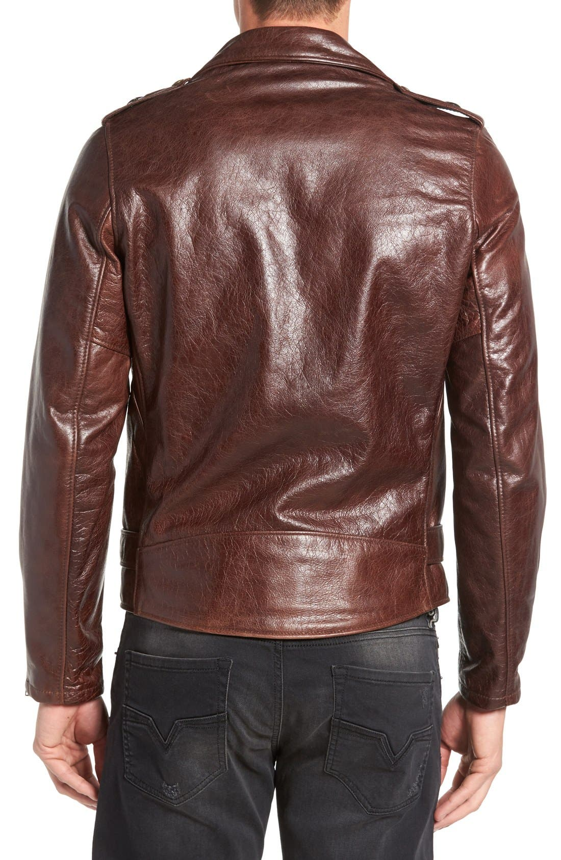 Waxy Cowhide Leather Motorcycle Jacket,                             Alternate thumbnail 8, color,                             BROWN