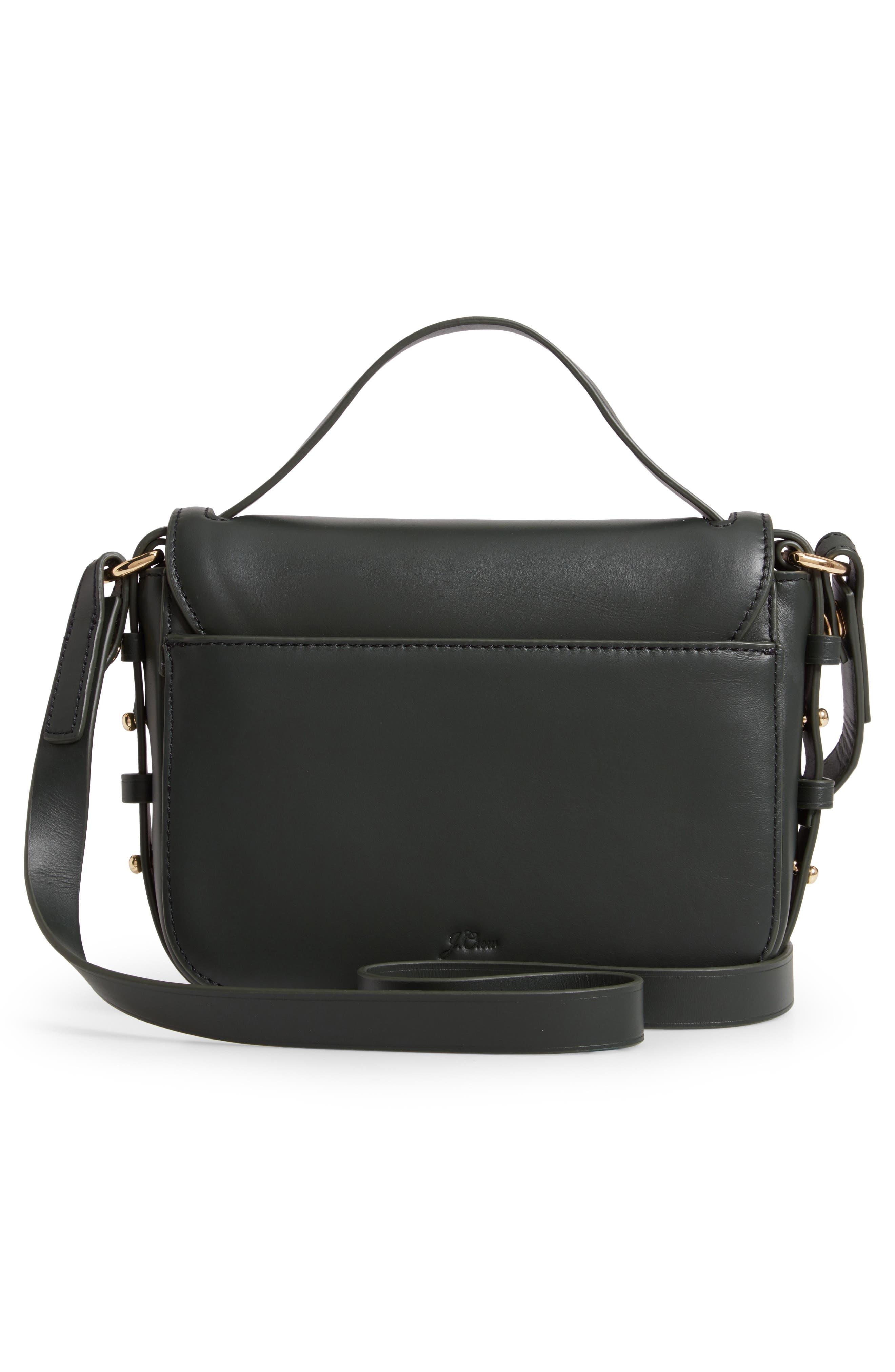 Harper Leather Crossbody Bag,                             Alternate thumbnail 3, color,                             DARK EVERGREEN