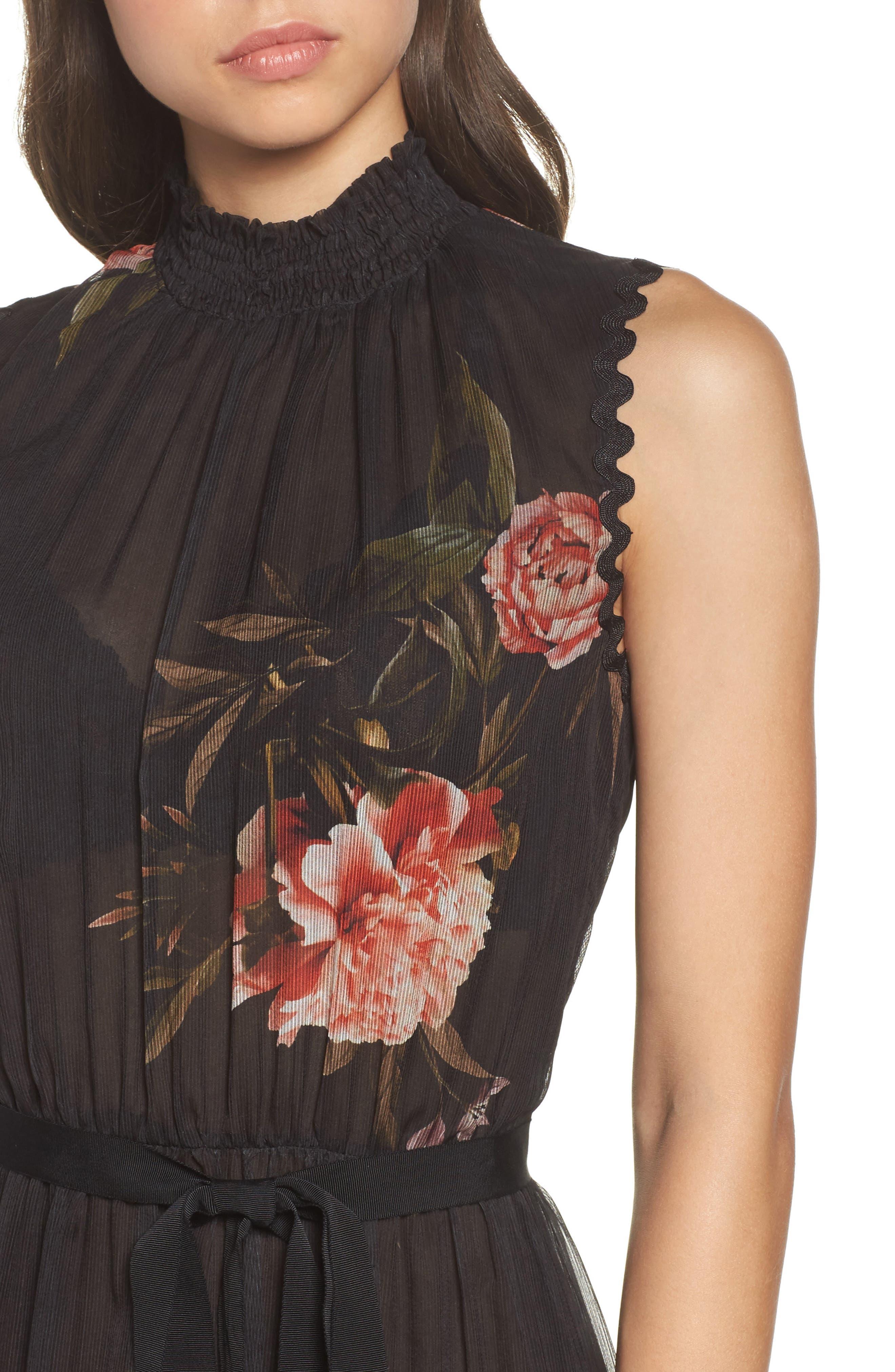 Noir Rana Smocked Neck Midi Dress,                             Alternate thumbnail 4, color,                             001