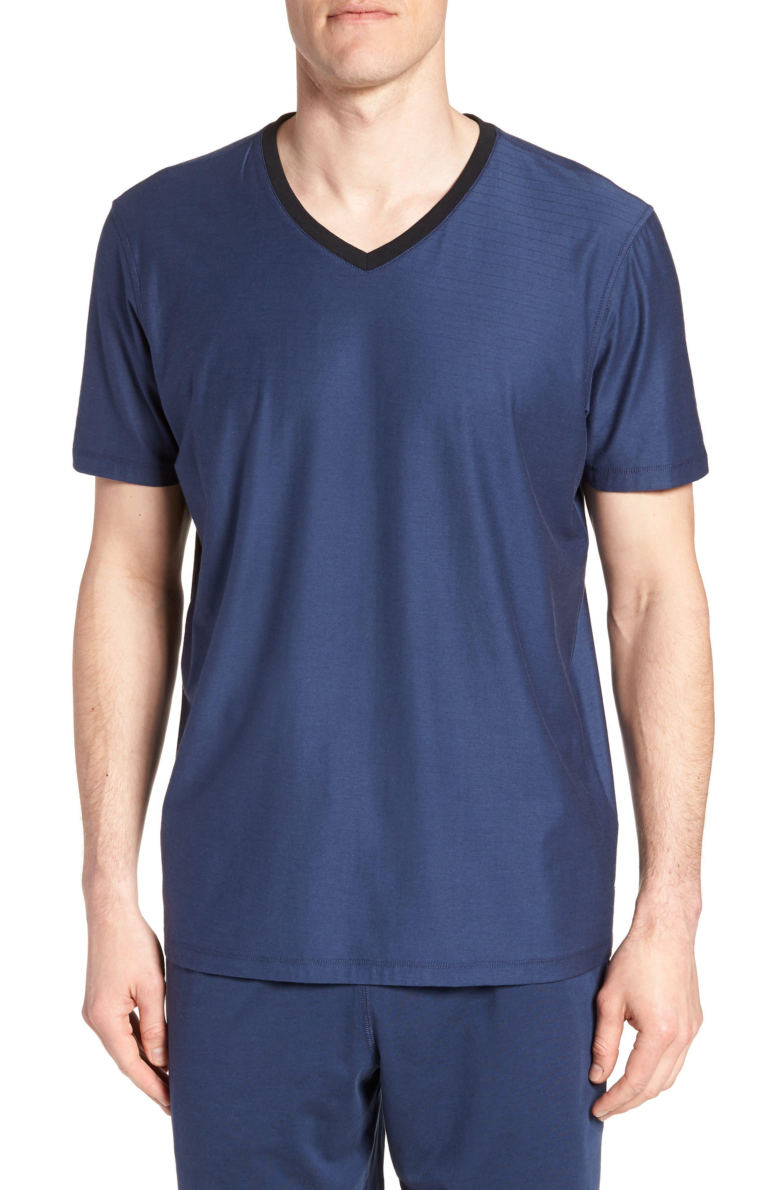 Pima Cotton & Modal V-Neck T-Shirt,                         Main,                         color, NAVY