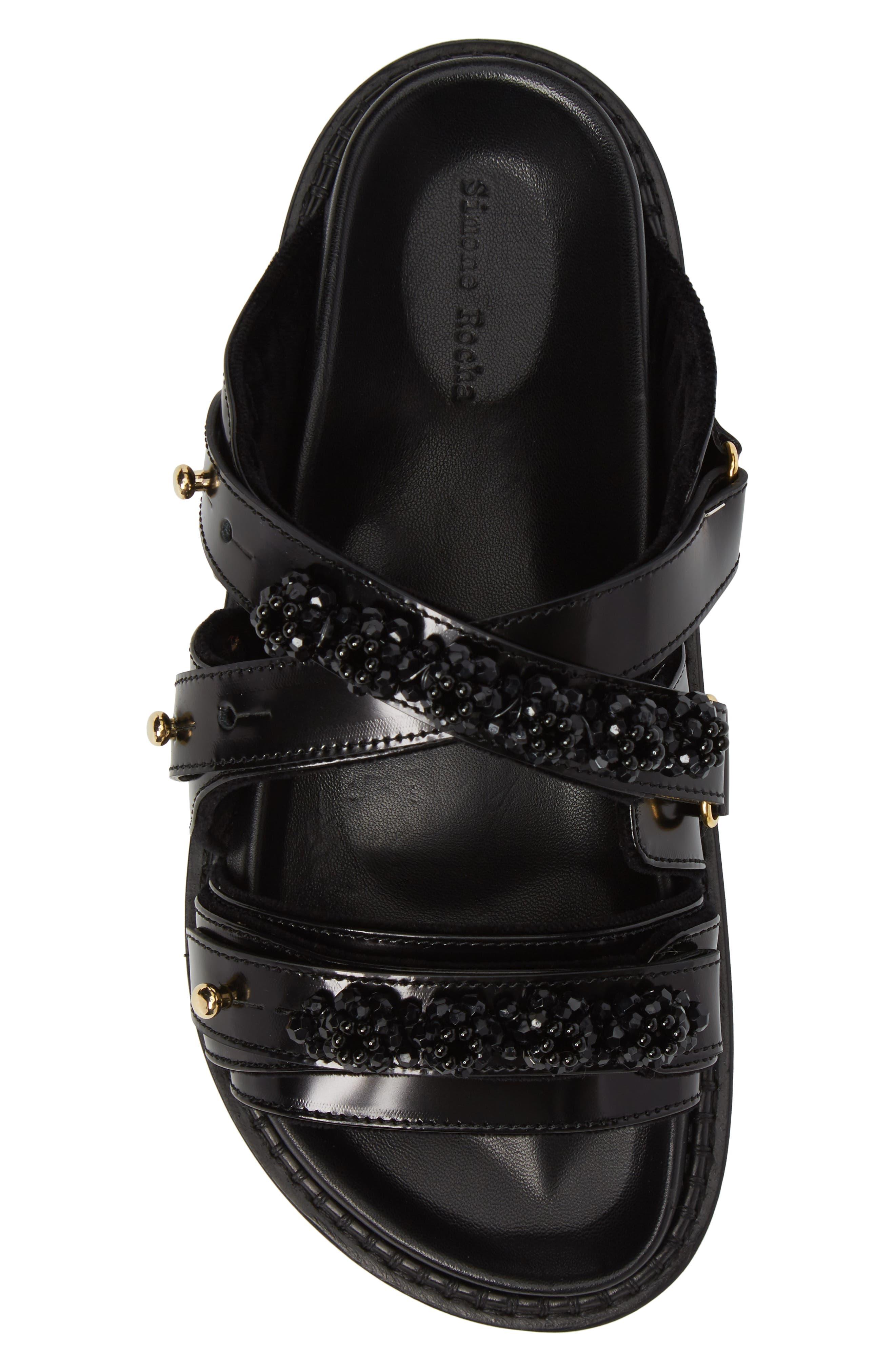 Beaded Leather Slide Sandal,                             Alternate thumbnail 5, color,                             001