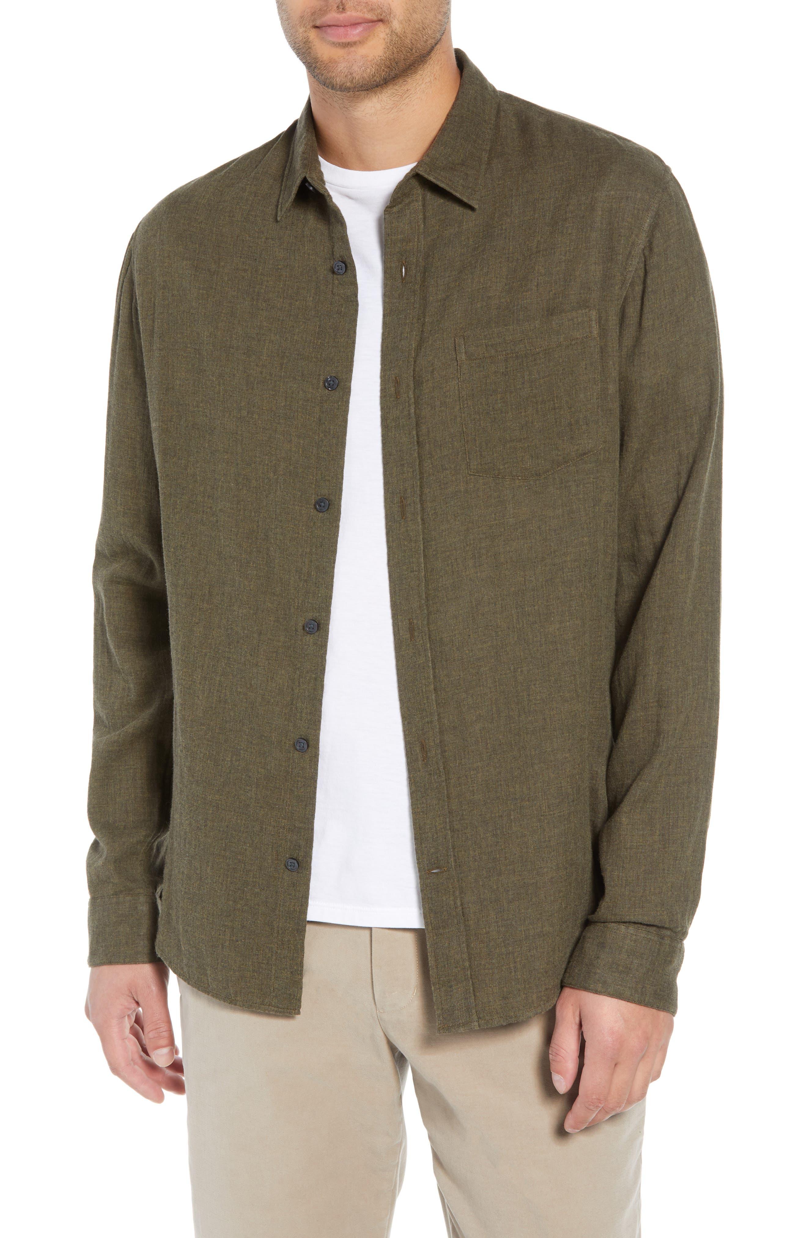 Classic Fit Double Knit Sport Shirt,                         Main,                         color, H OLIVE