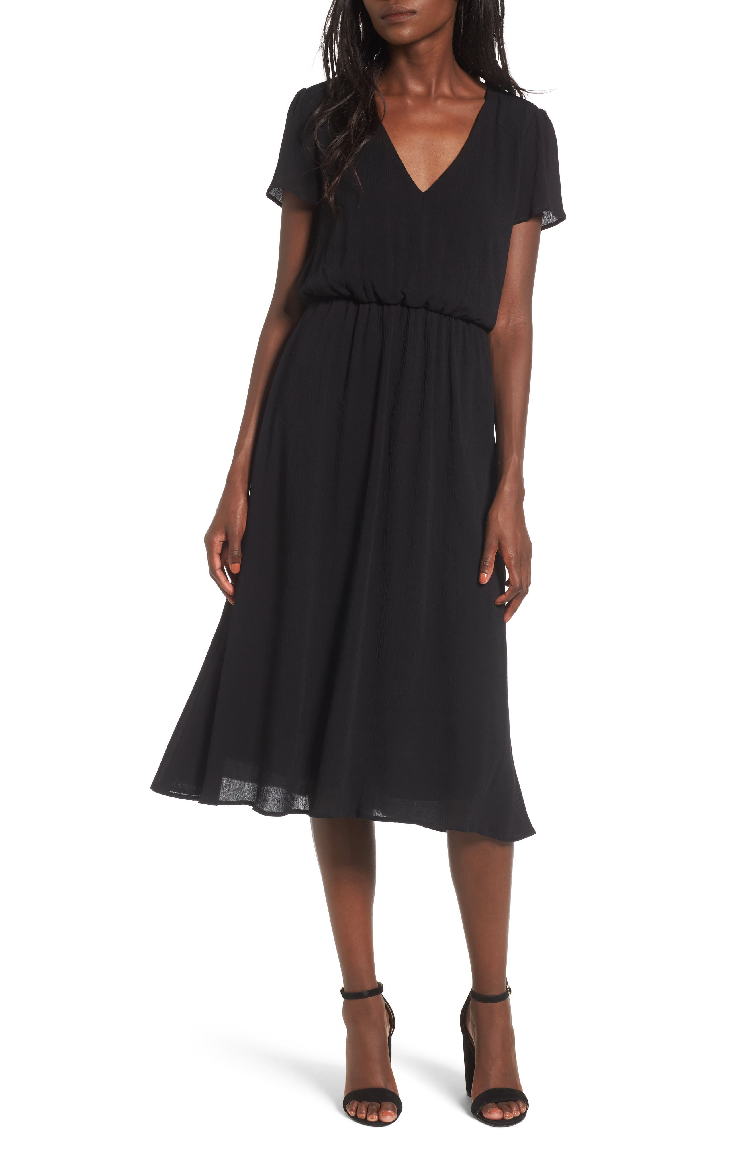 WAYF Blouson Midi Dress, Main, color, BLACK