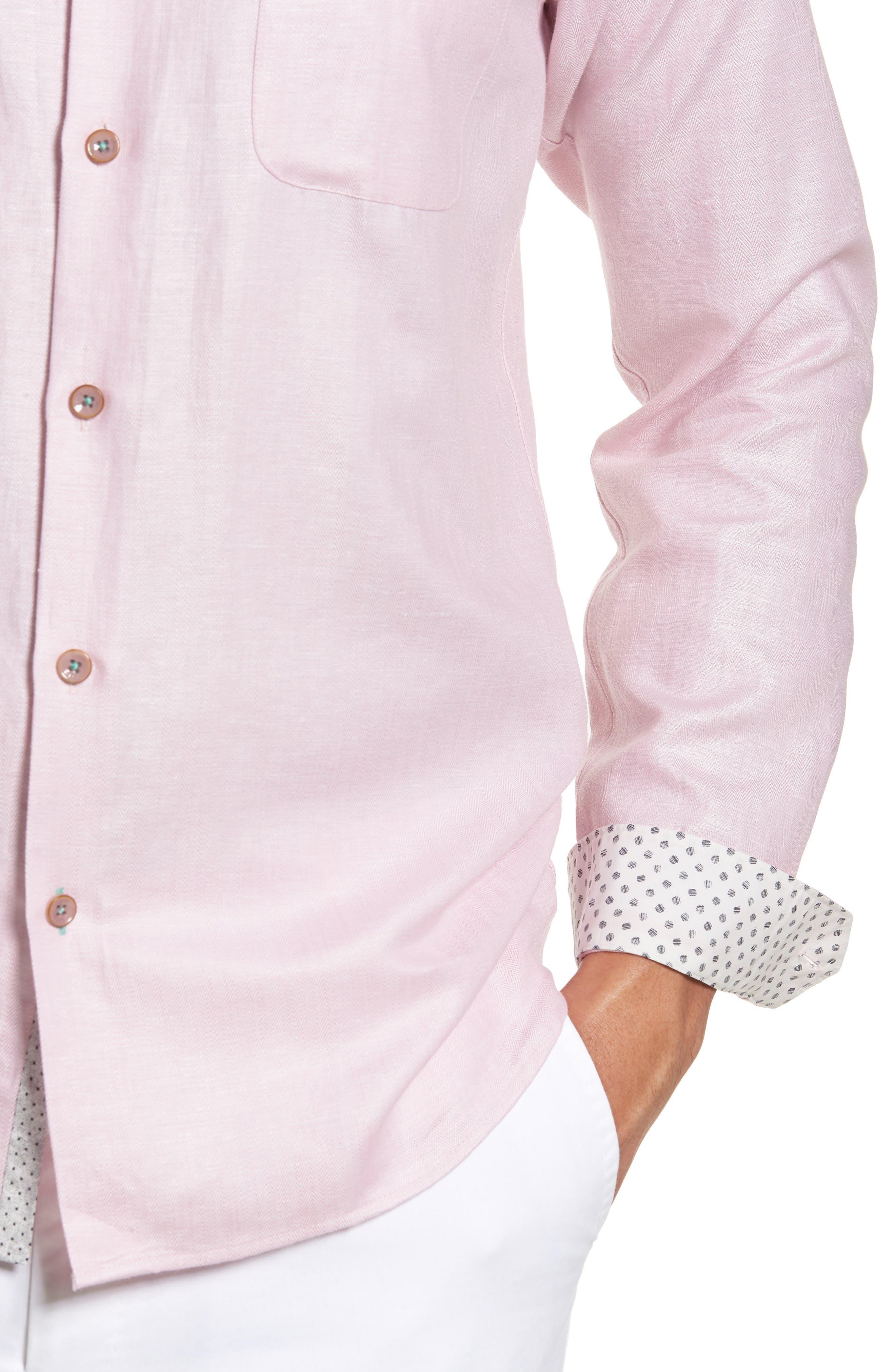 Linlins Herringbone Cotton & Linen Sport Shirt,                             Alternate thumbnail 20, color,