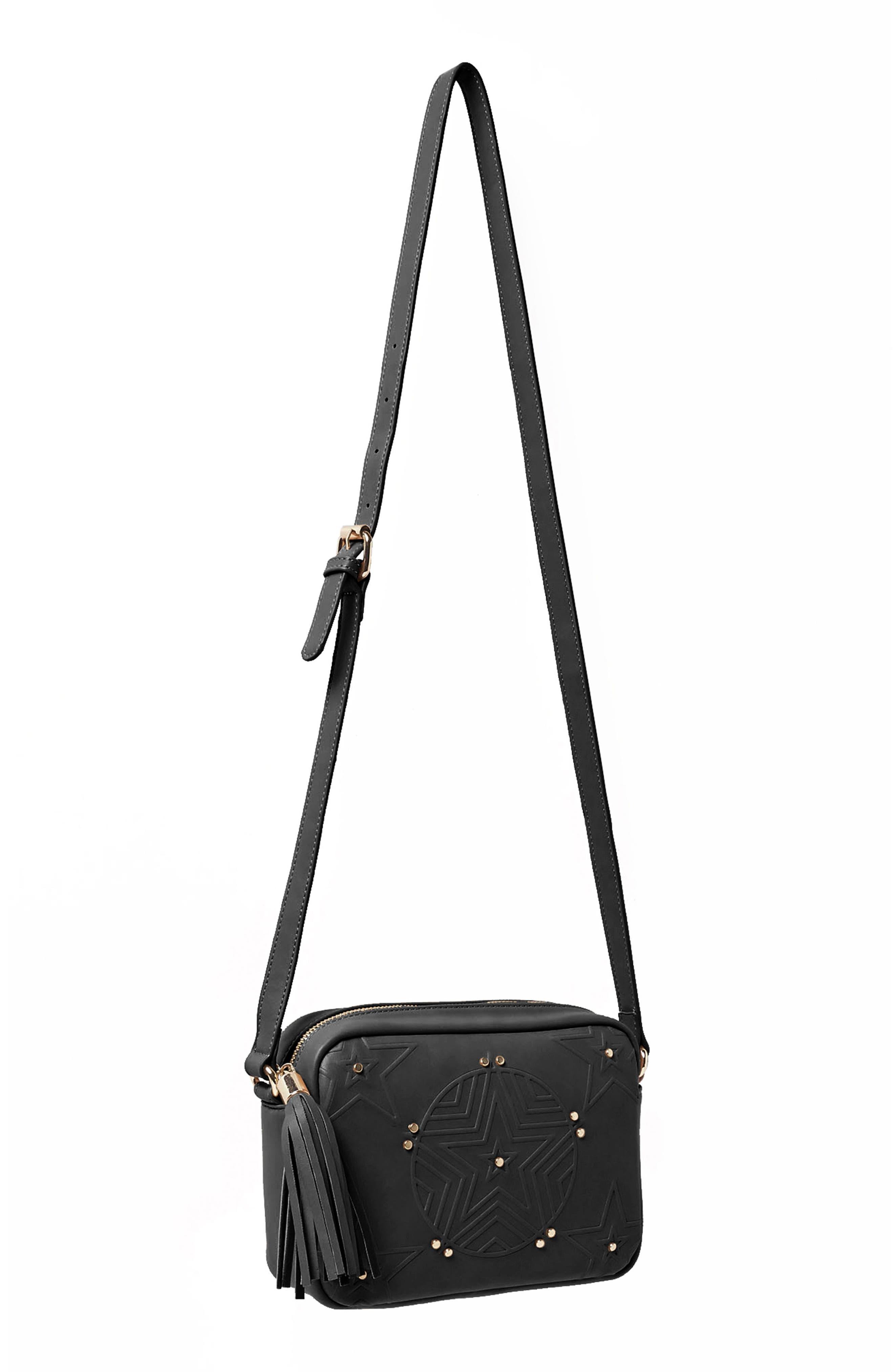 Stargazer Vegan Leather Crossbody Bag,                             Alternate thumbnail 3, color,                             001
