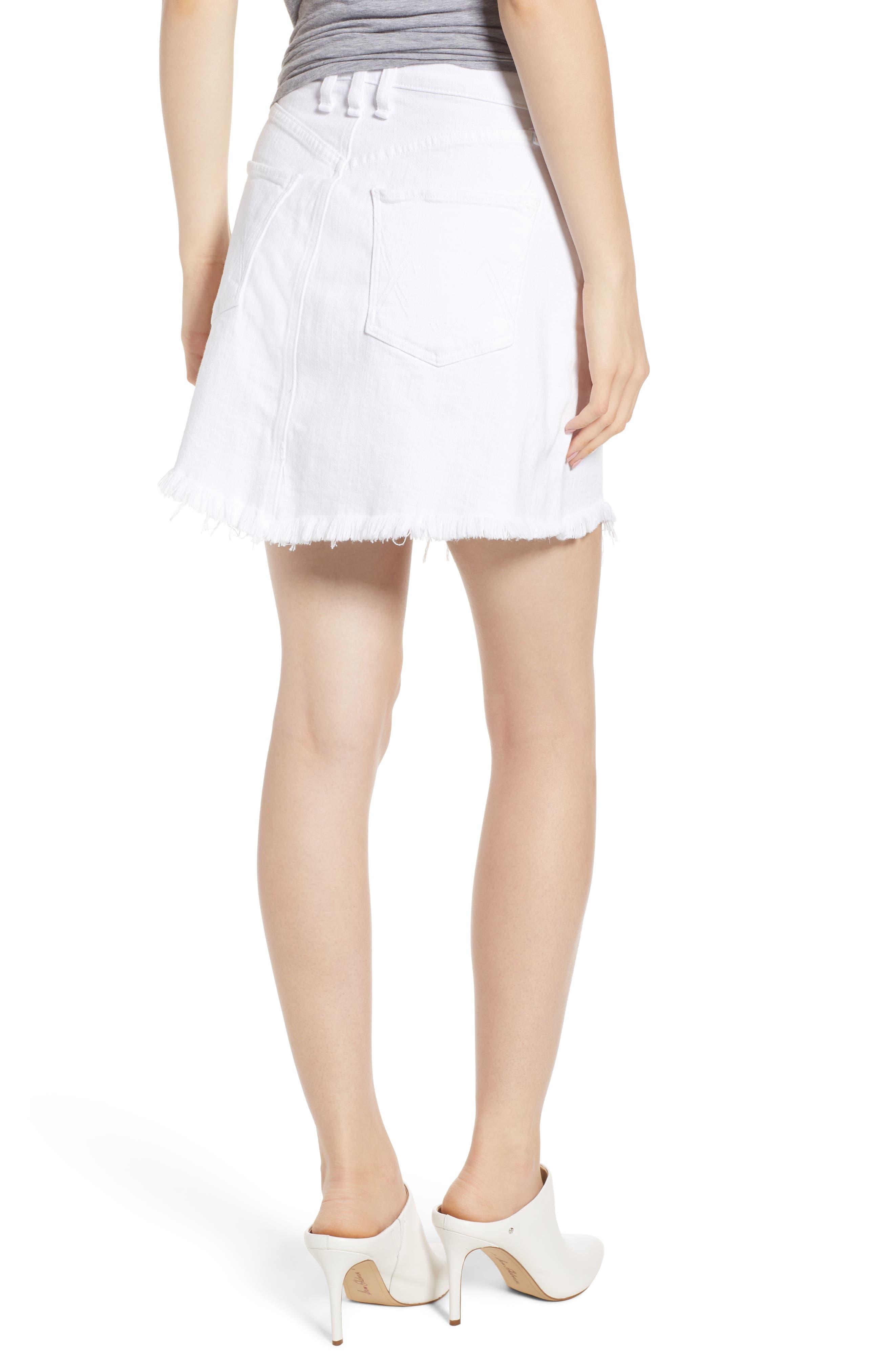 Izabel Angled Hem Denim Skirt,                             Alternate thumbnail 2, color,                             WHITE LIE