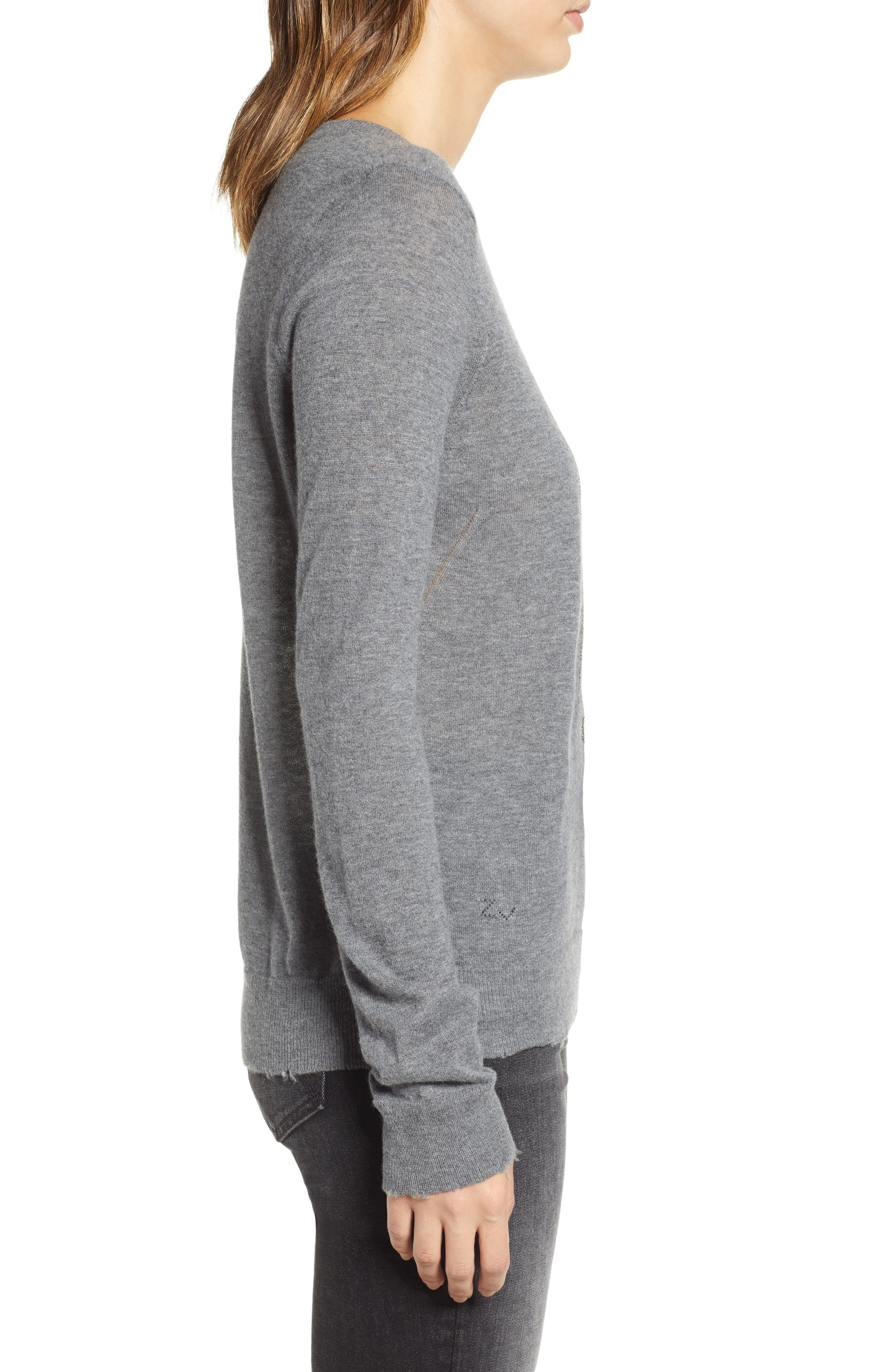 Miss Bis Skull Cashmere Tee,                             Alternate thumbnail 3, color,                             GRIS