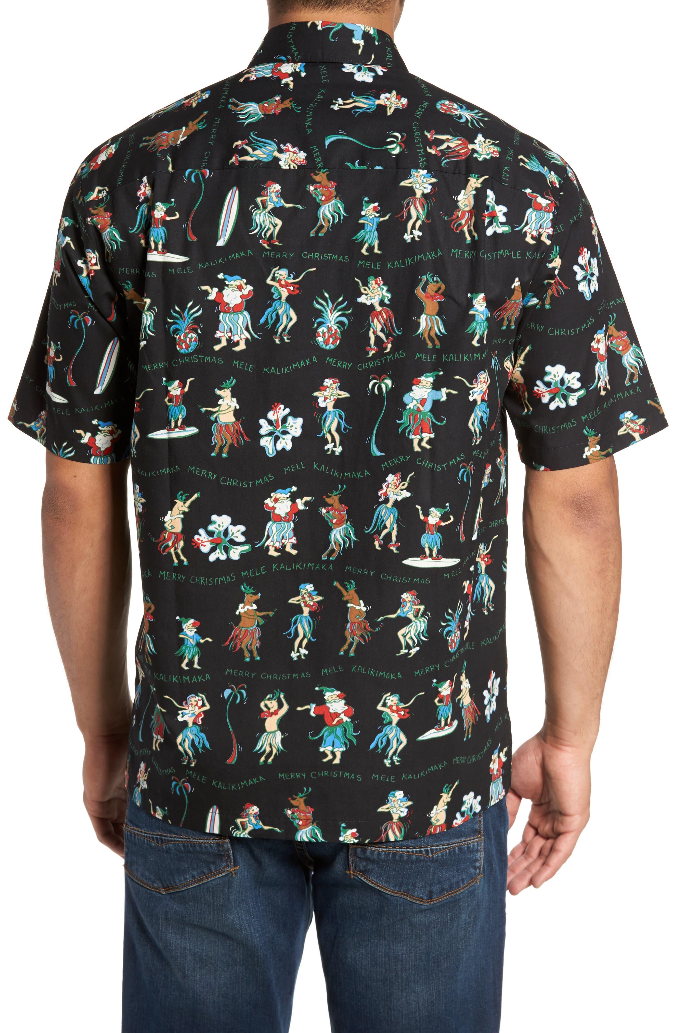Kalikimaka Classic Fit Print Camp Shirt,                             Alternate thumbnail 2, color,                             001