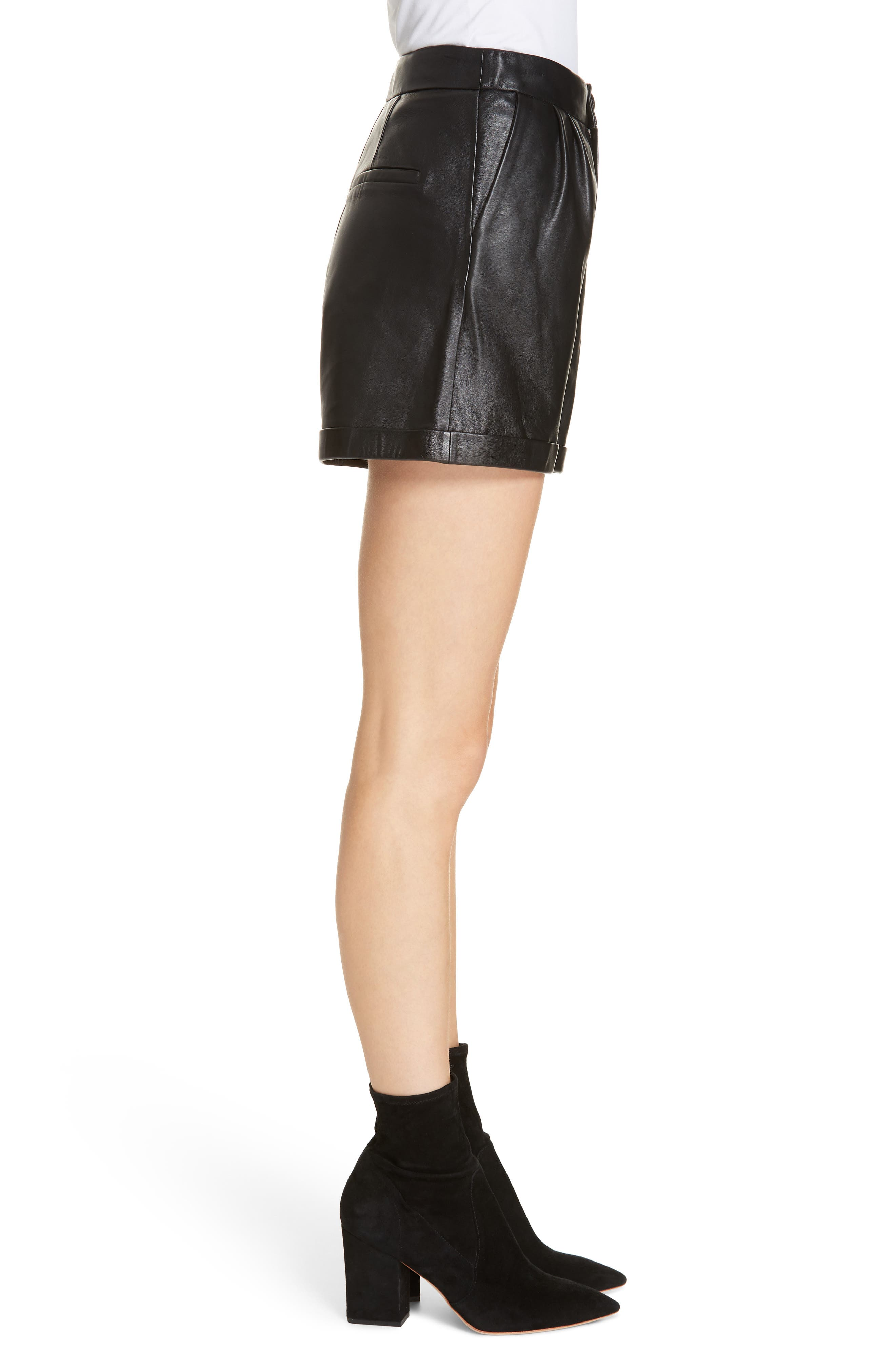 Pleated Leather Shorts,                             Alternate thumbnail 3, color,                             NOIR