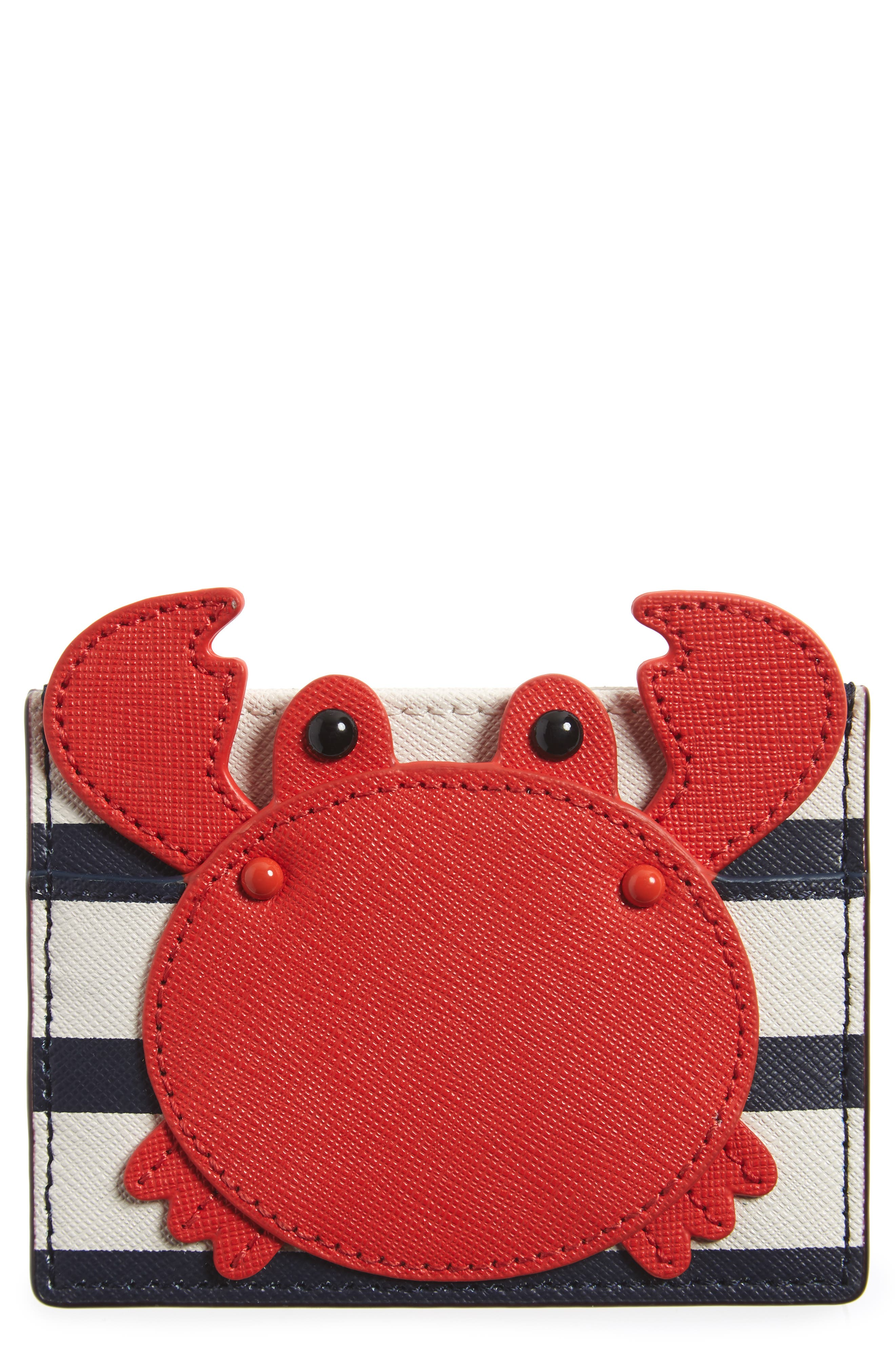 shore thing - crab leather card case,                             Main thumbnail 1, color,                             600