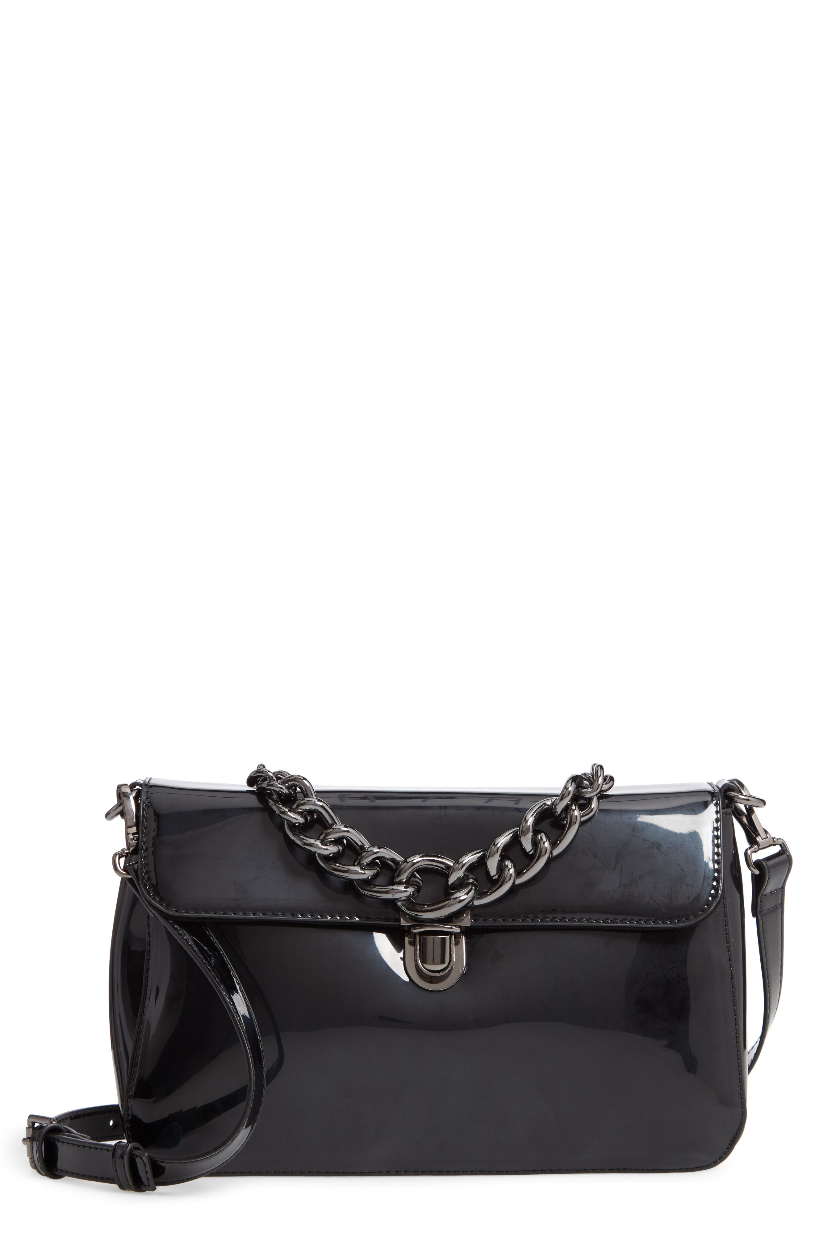 Ladan Faux Leather Top Handle Satchel,                         Main,                         color, BLACK