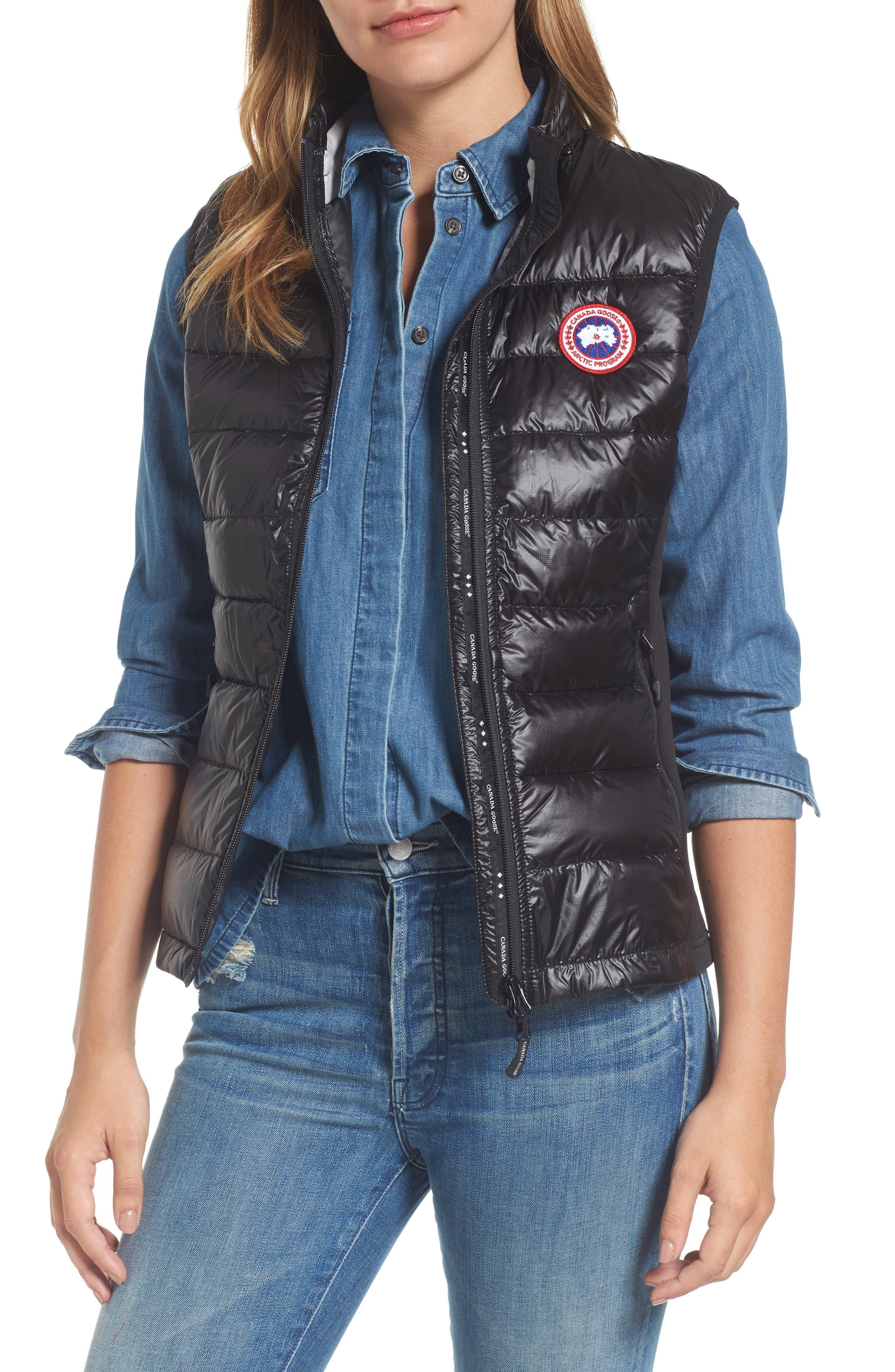 'Hybridge Lite' Slim Fit Packable Down Vest,                             Main thumbnail 1, color,                             BLACK/ GRAPHITE