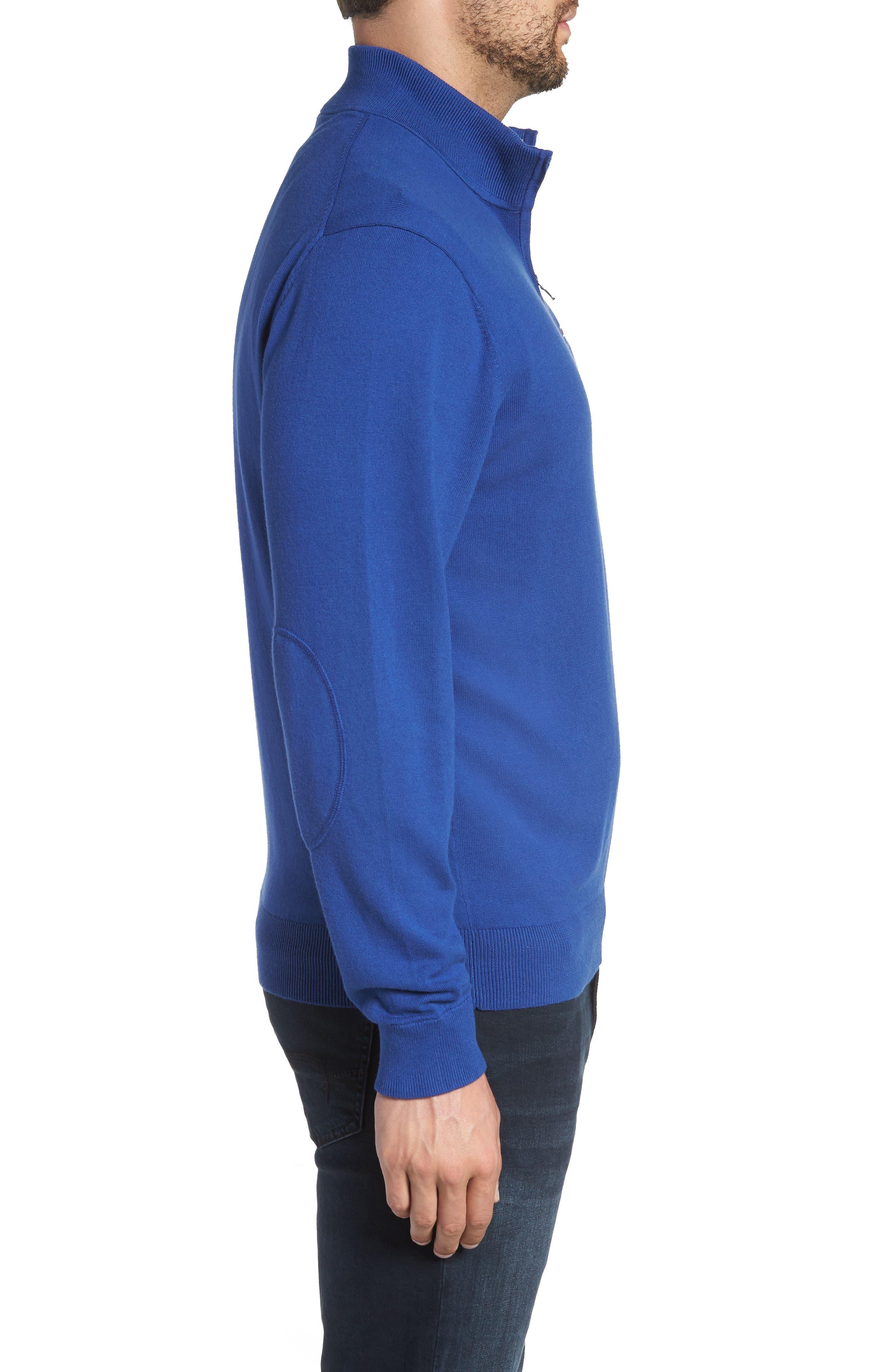 Buffalo Bills - Lakemont Regular Fit Quarter Zip Sweater,                             Alternate thumbnail 3, color,                             TOUR BLUE