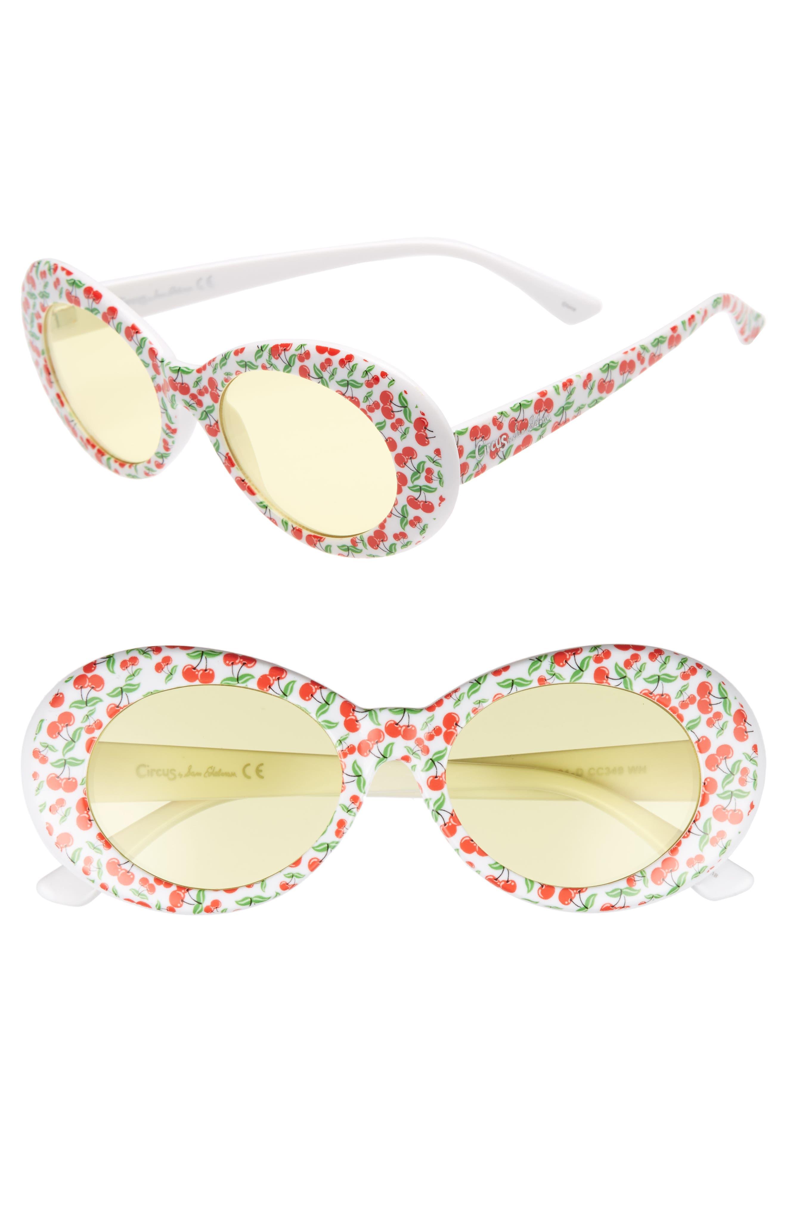 50mm Cherry Print Oval Sunglasses,                             Main thumbnail 2, color,