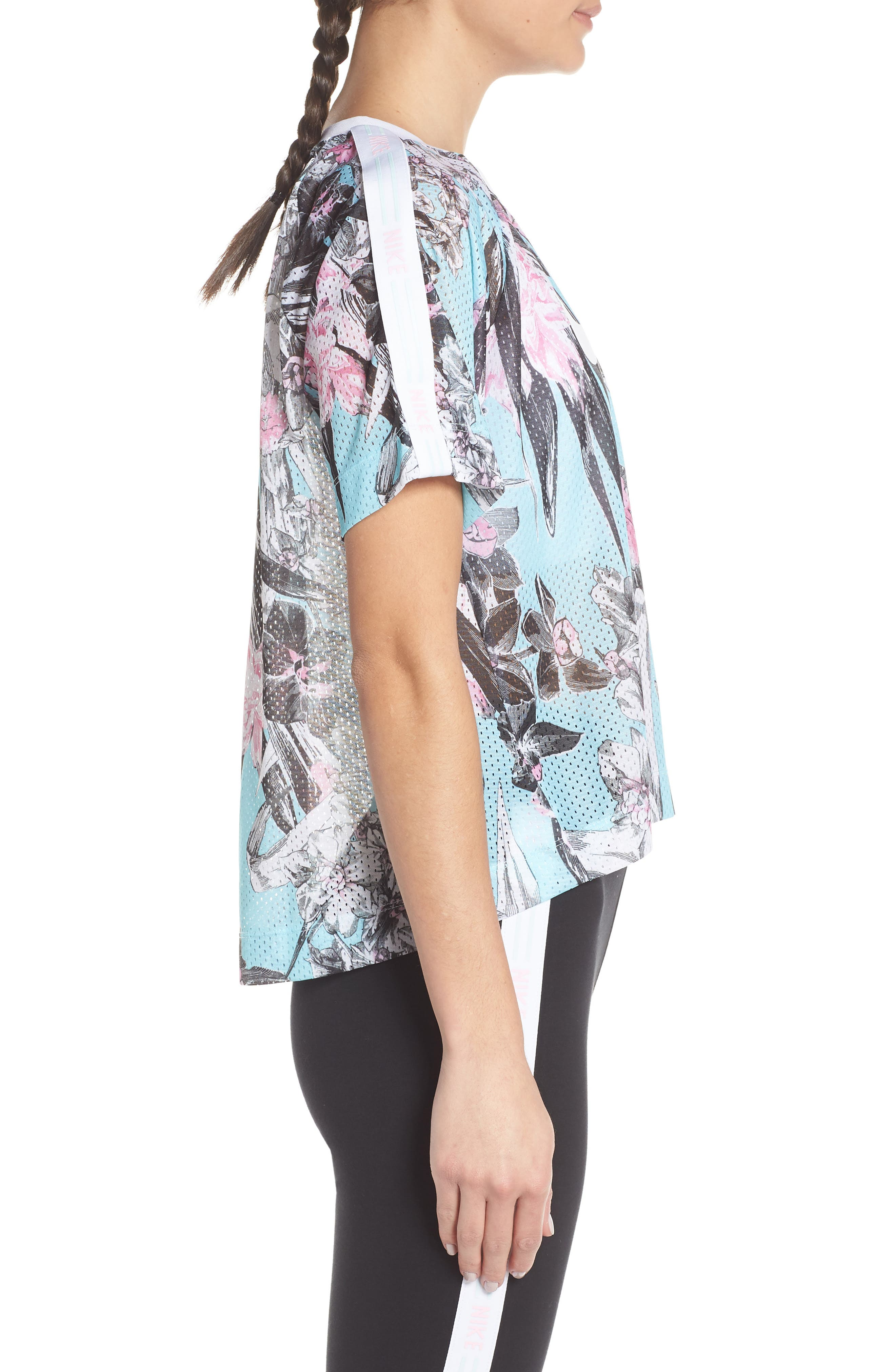 Sportswear Floral Print Mesh Top,                             Alternate thumbnail 3, color,                             TOPAZ MIST/ WHITE