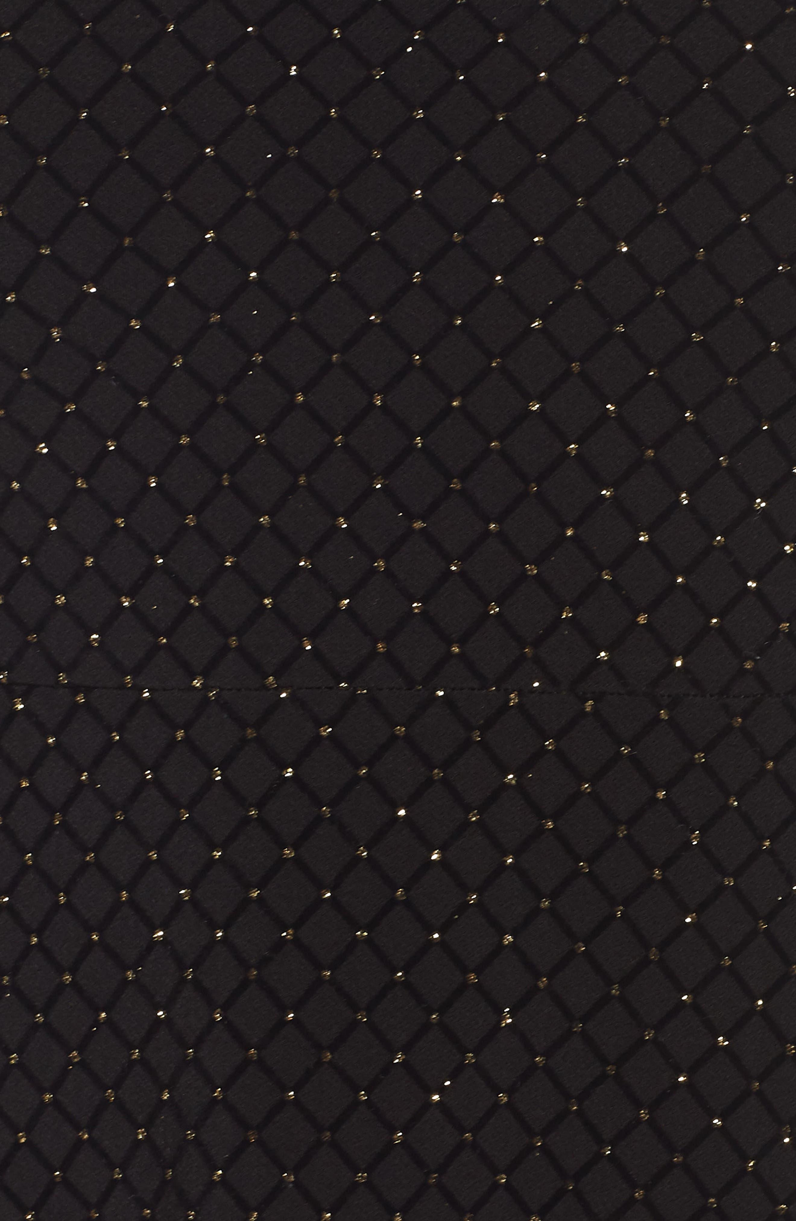 Long Sleeve Pleated Skirt Dress,                             Alternate thumbnail 6, color,                             BLACK/ GOLD