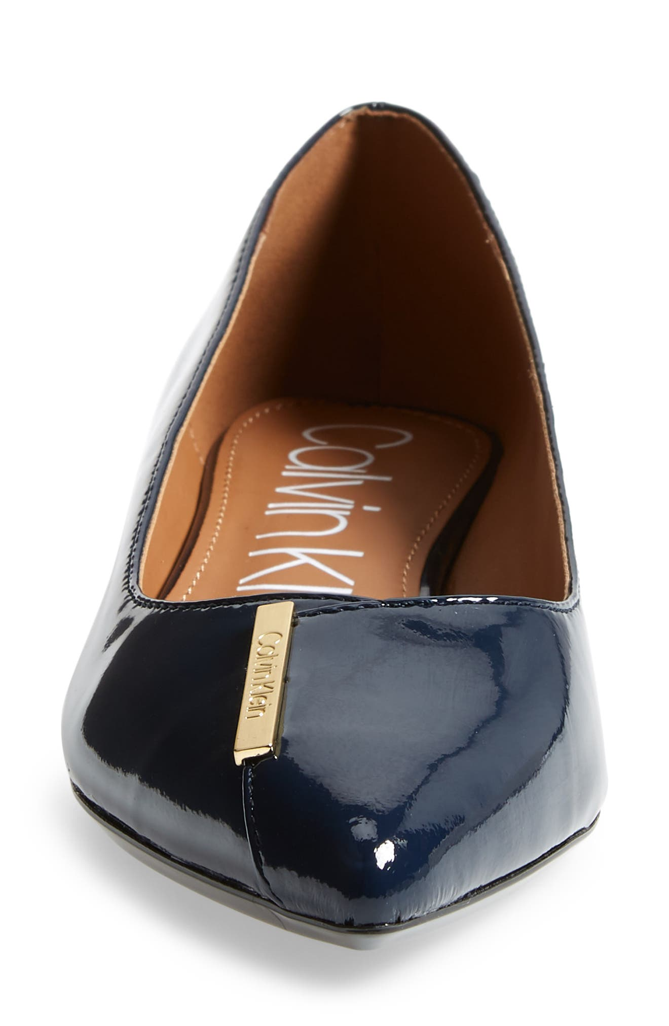 Arline Pointy Toe Flat,                             Alternate thumbnail 4, color,                             NAVY PATENT LEATHER