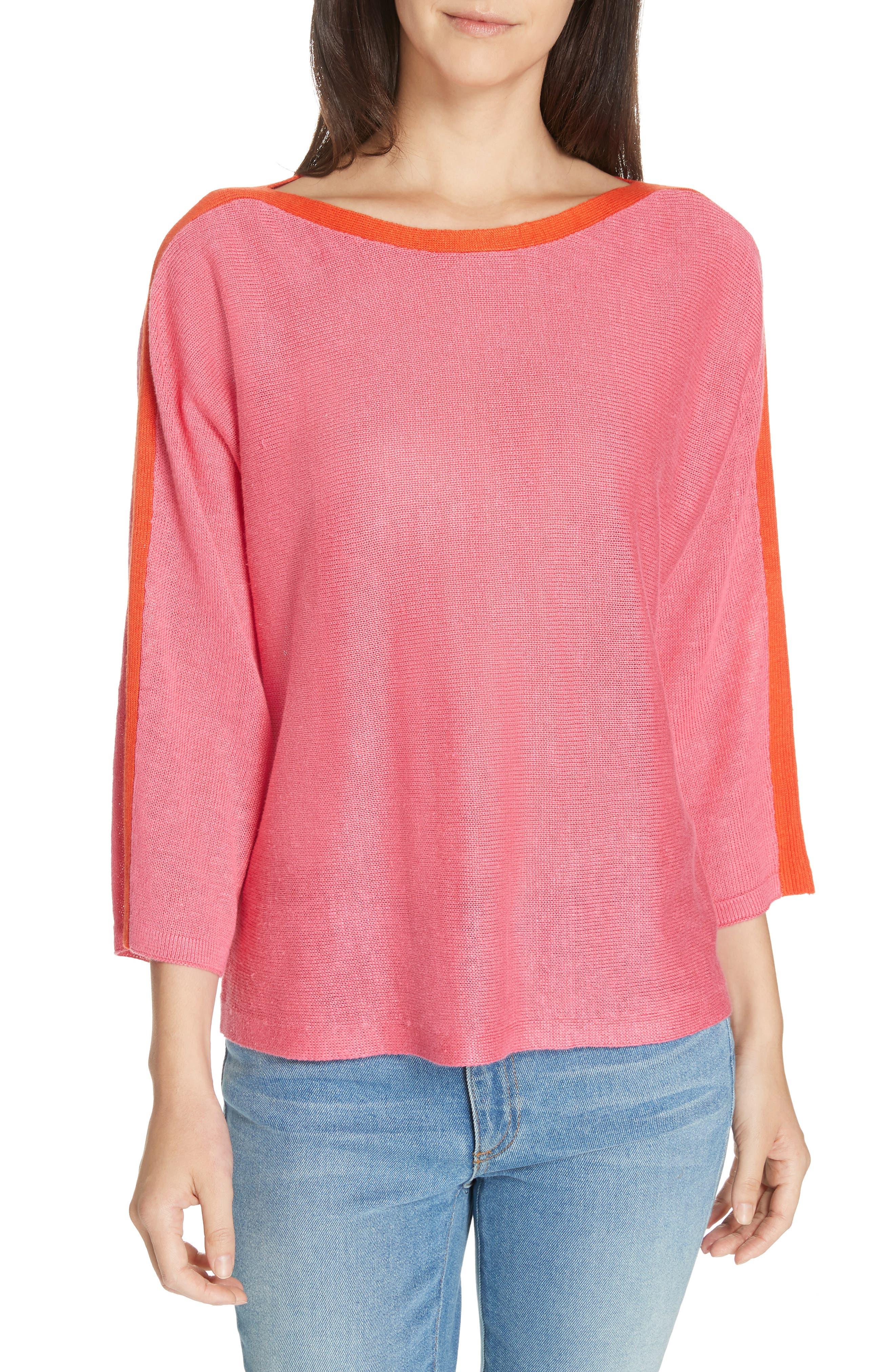 Stripe Detail Linen Sweater, Main, color, CHERRY LANE