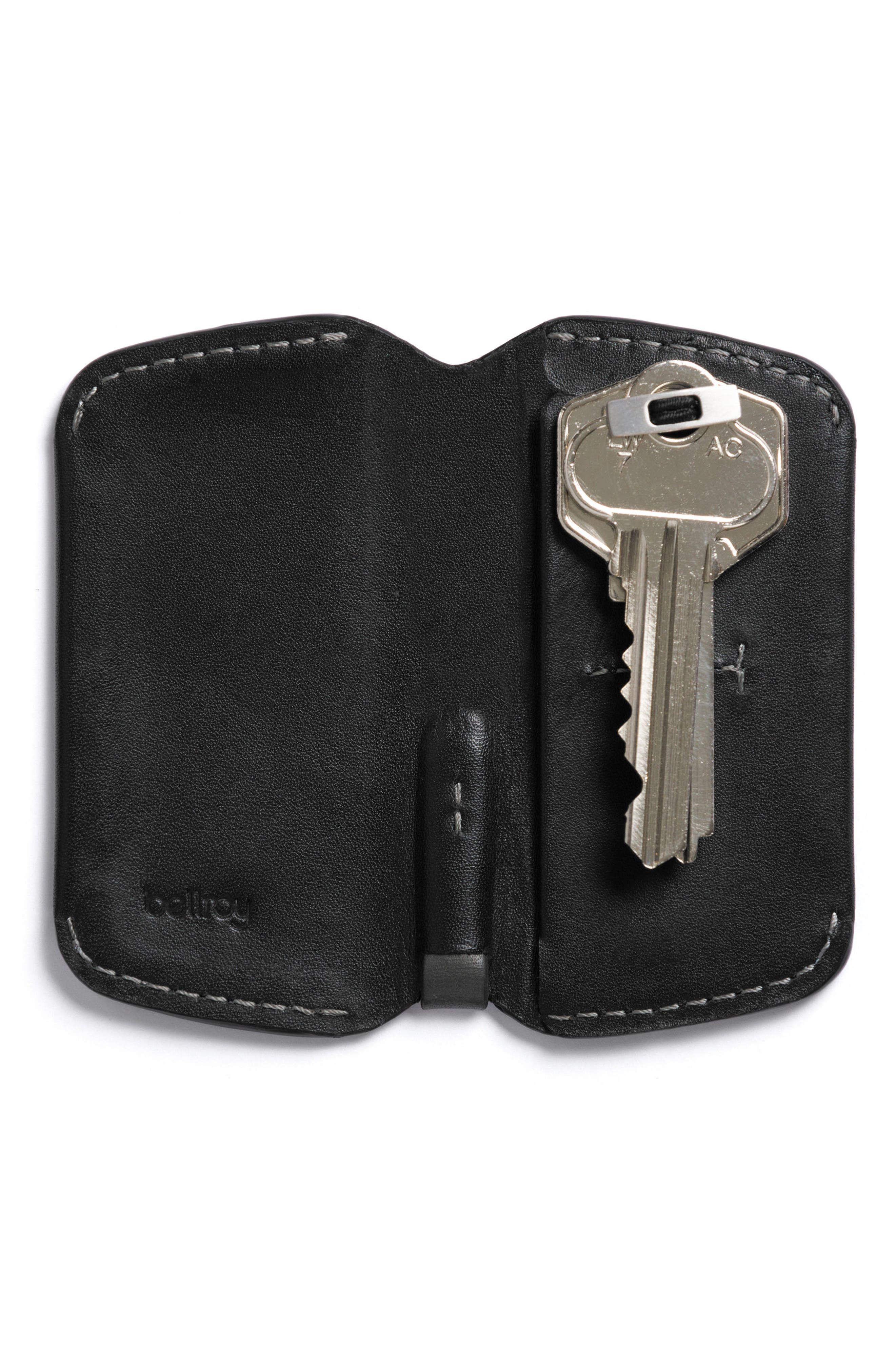 Leather Key Cover,                         Main,                         color, BLACK