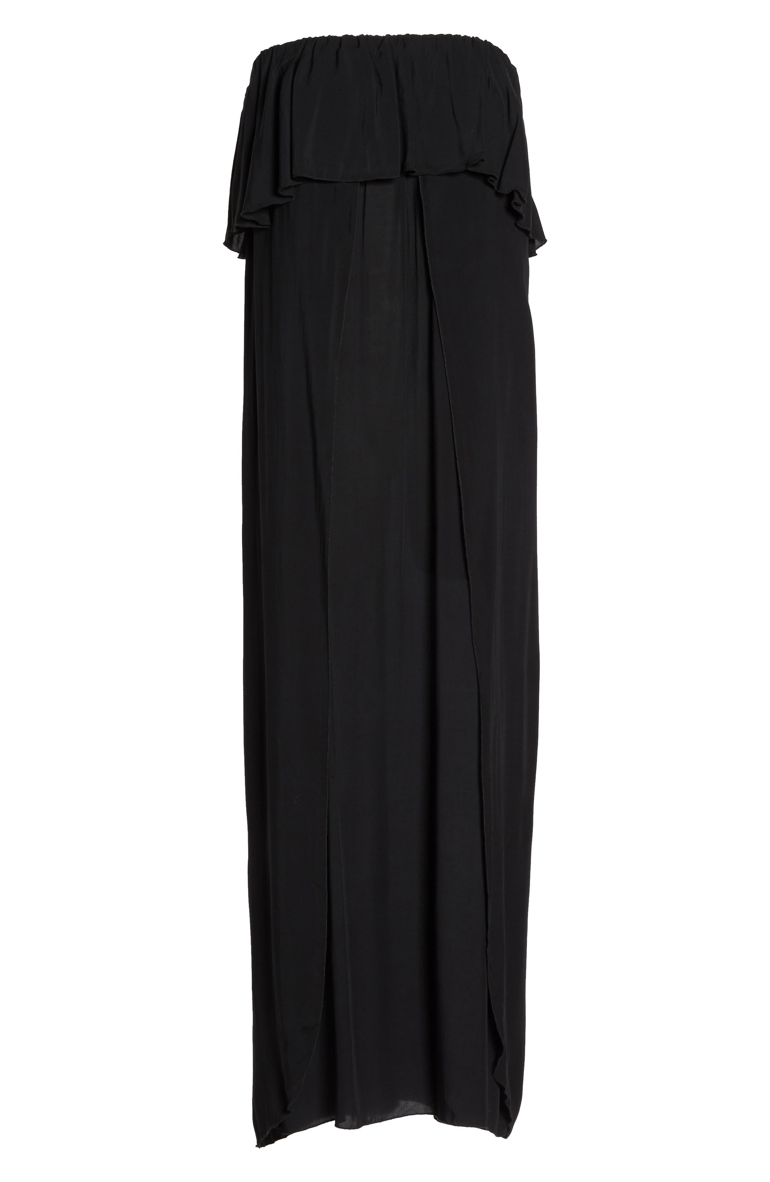 Strapless Maxi Cover-Up Dress,                             Alternate thumbnail 6, color,                             BLACK