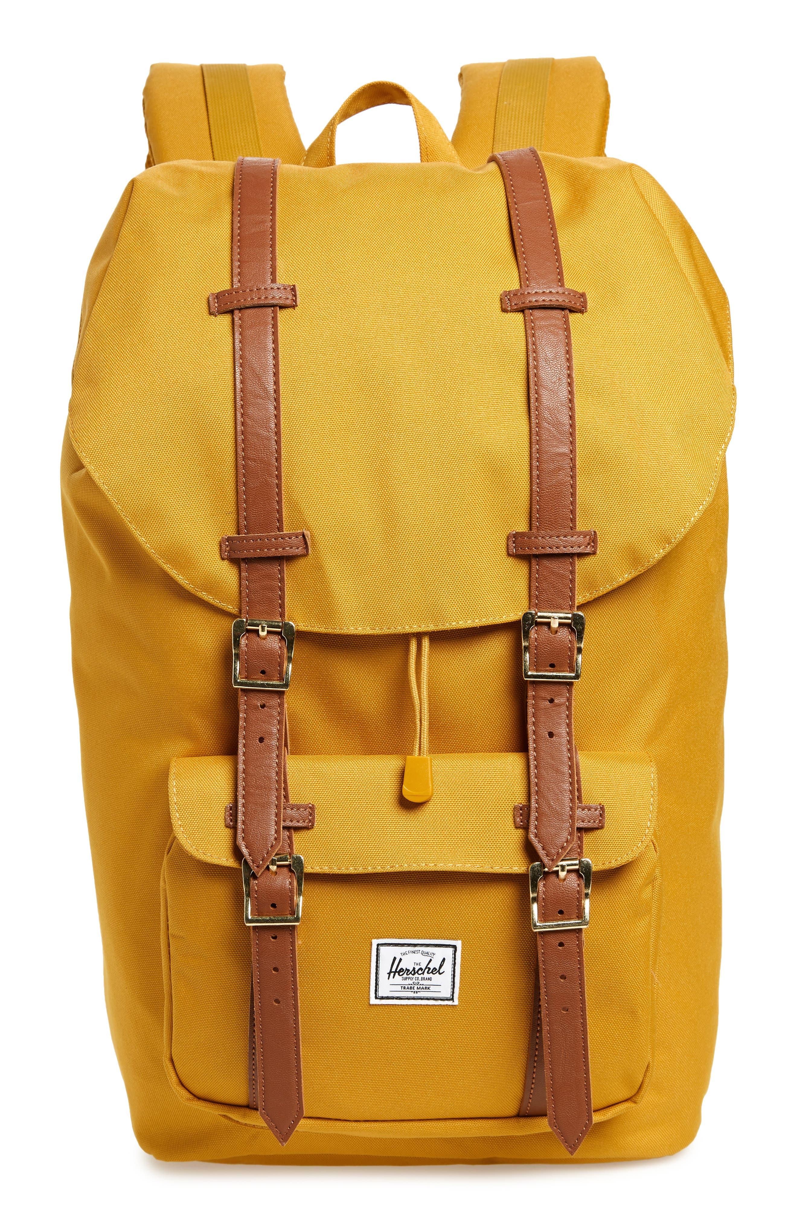 HERSCHEL SUPPLY CO. Little America Backpack - Yellow in Arrow Wood/ Tan Leather