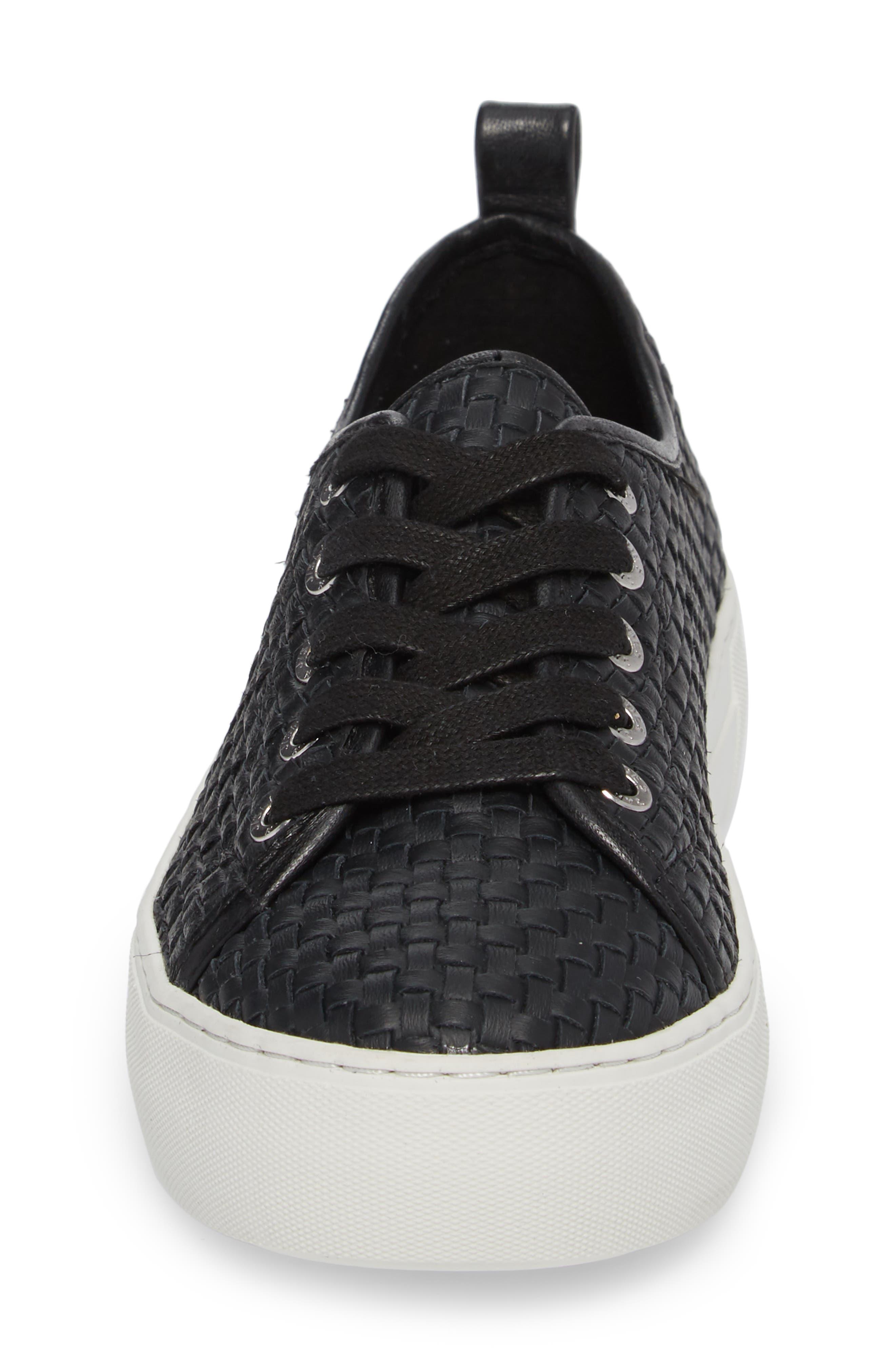 Artsy Woven Platform Sneaker,                             Alternate thumbnail 4, color,                             BLACK LEATHER