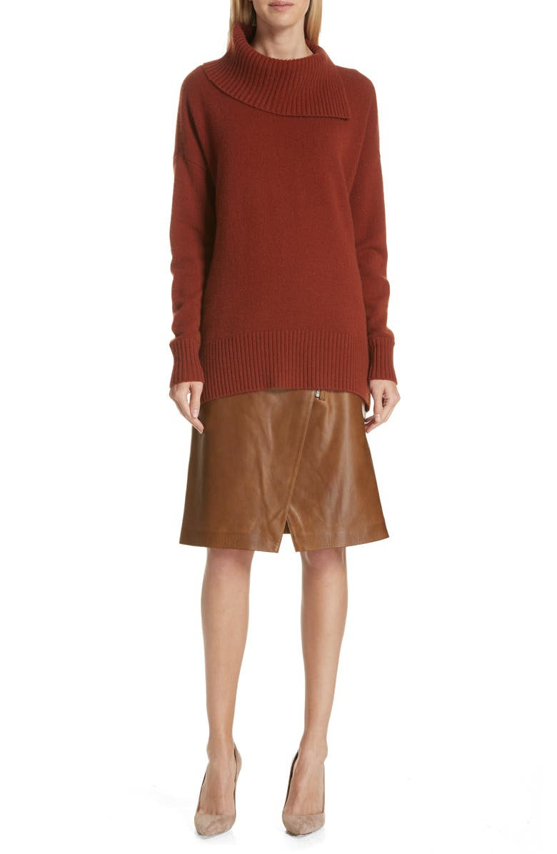 Faux Wrap Leather Skirt,                         Alternate,                         color, RUST BISQUE