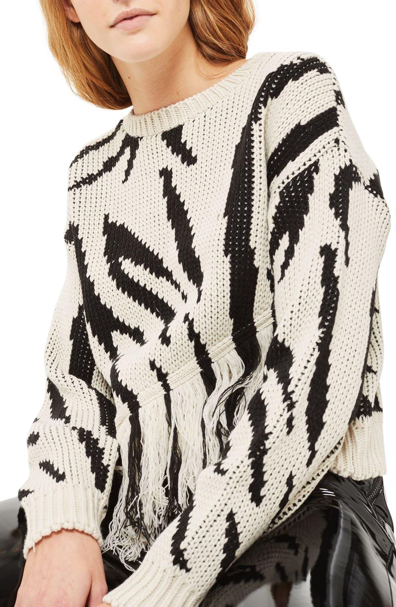 Fringe Zebra Print Sweater,                             Main thumbnail 1, color,                             001