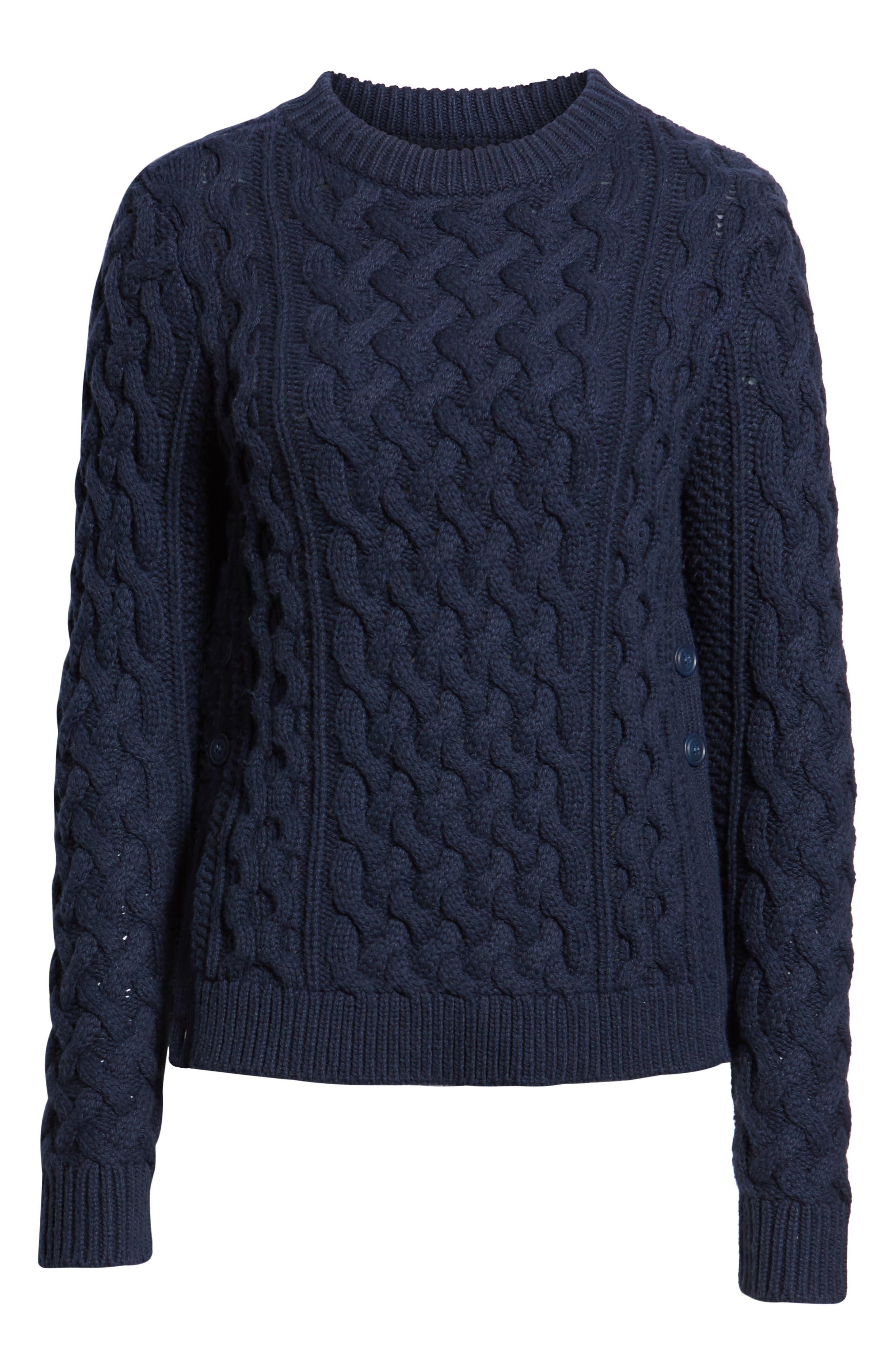Fisherwoman Crewneck Pullover Sweater,                             Alternate thumbnail 6, color,                             NAVY BLAZER