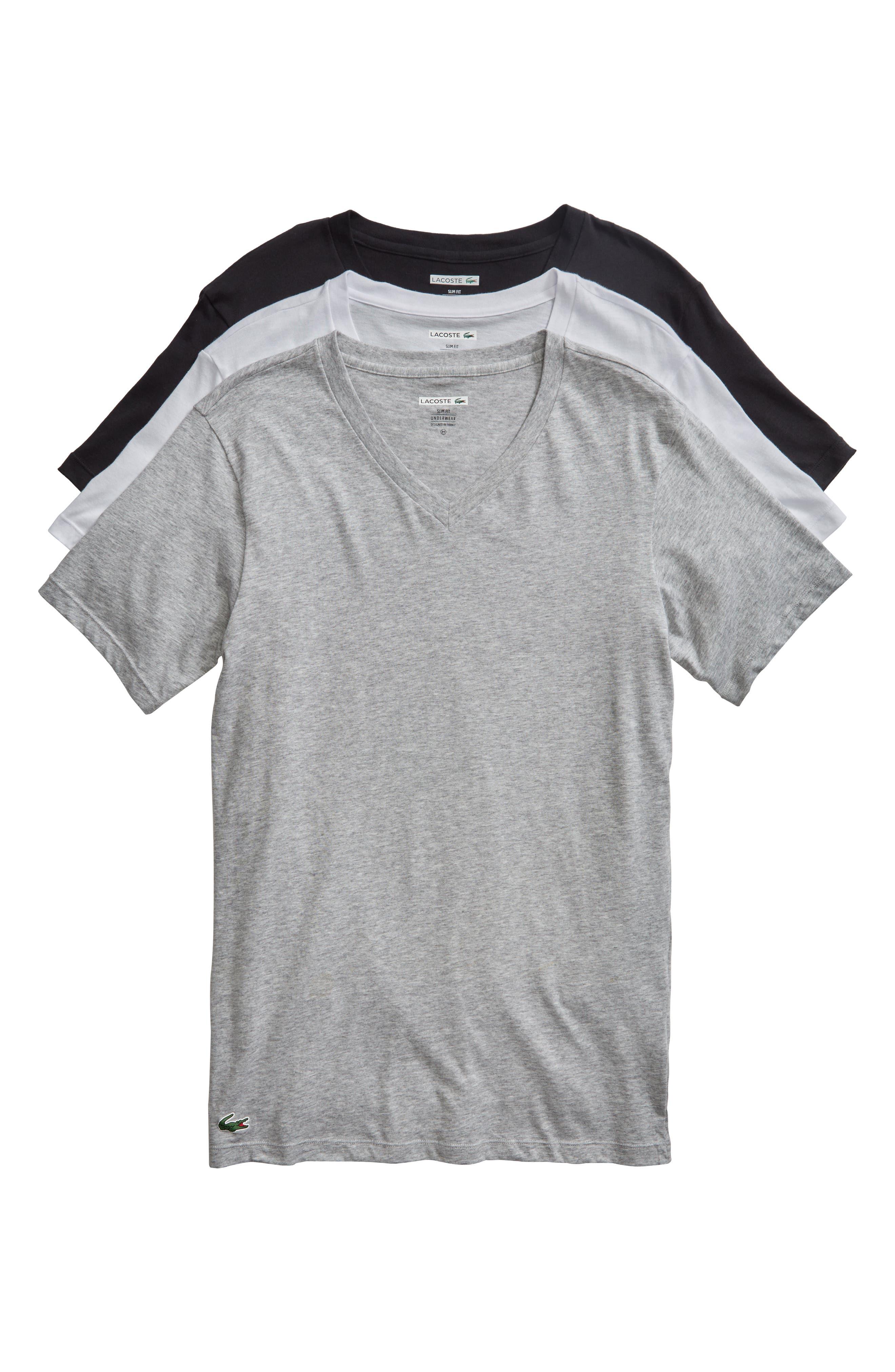LACOSTE,                             3-Pack Slim Fit V-Neck T-Shirts,                             Alternate thumbnail 6, color,                             BLACK/ GREY/ WHITE