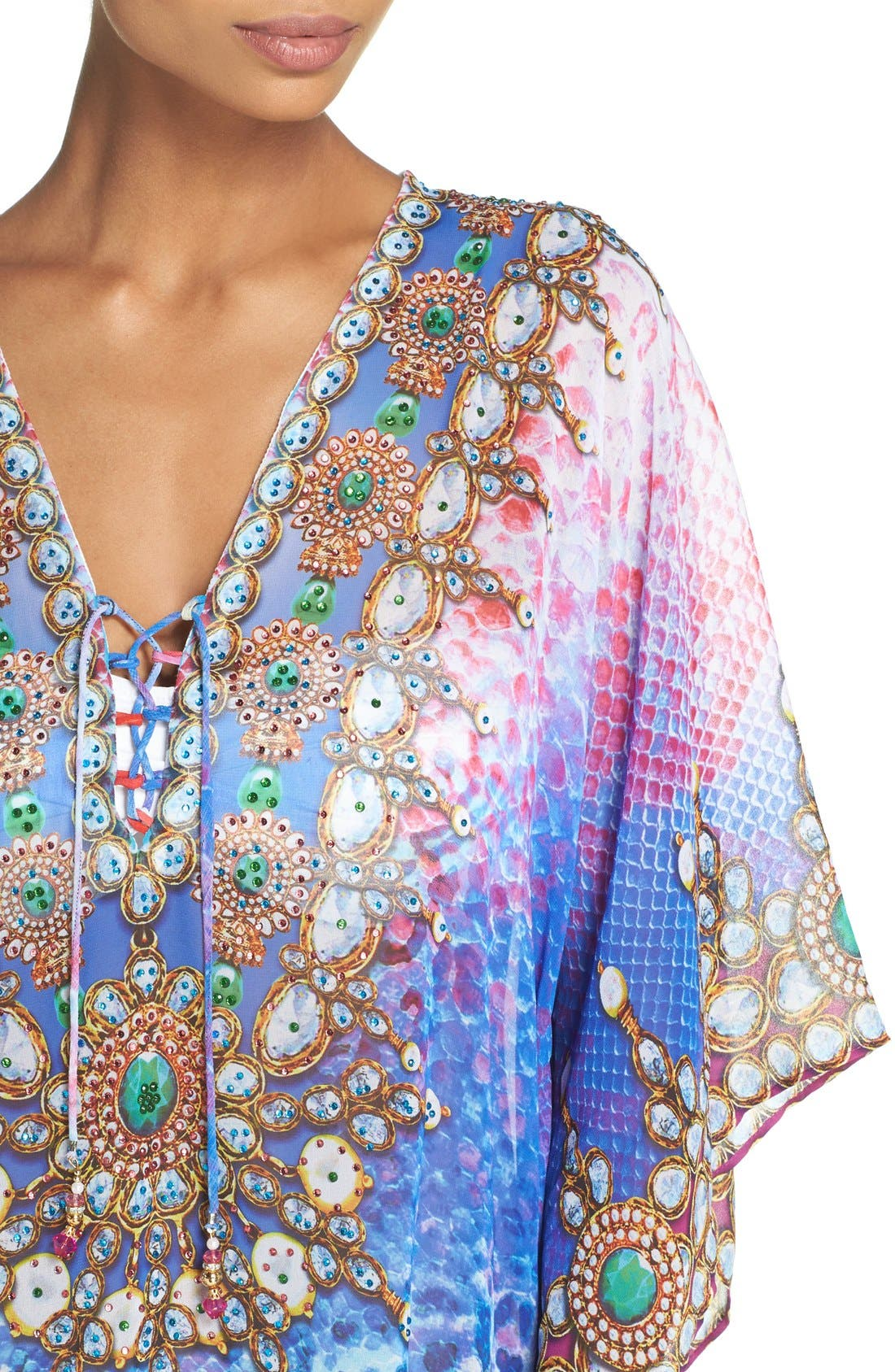 Bora Bora Short Kaftan,                             Alternate thumbnail 2, color,                             MULTI BLUE/ PINK