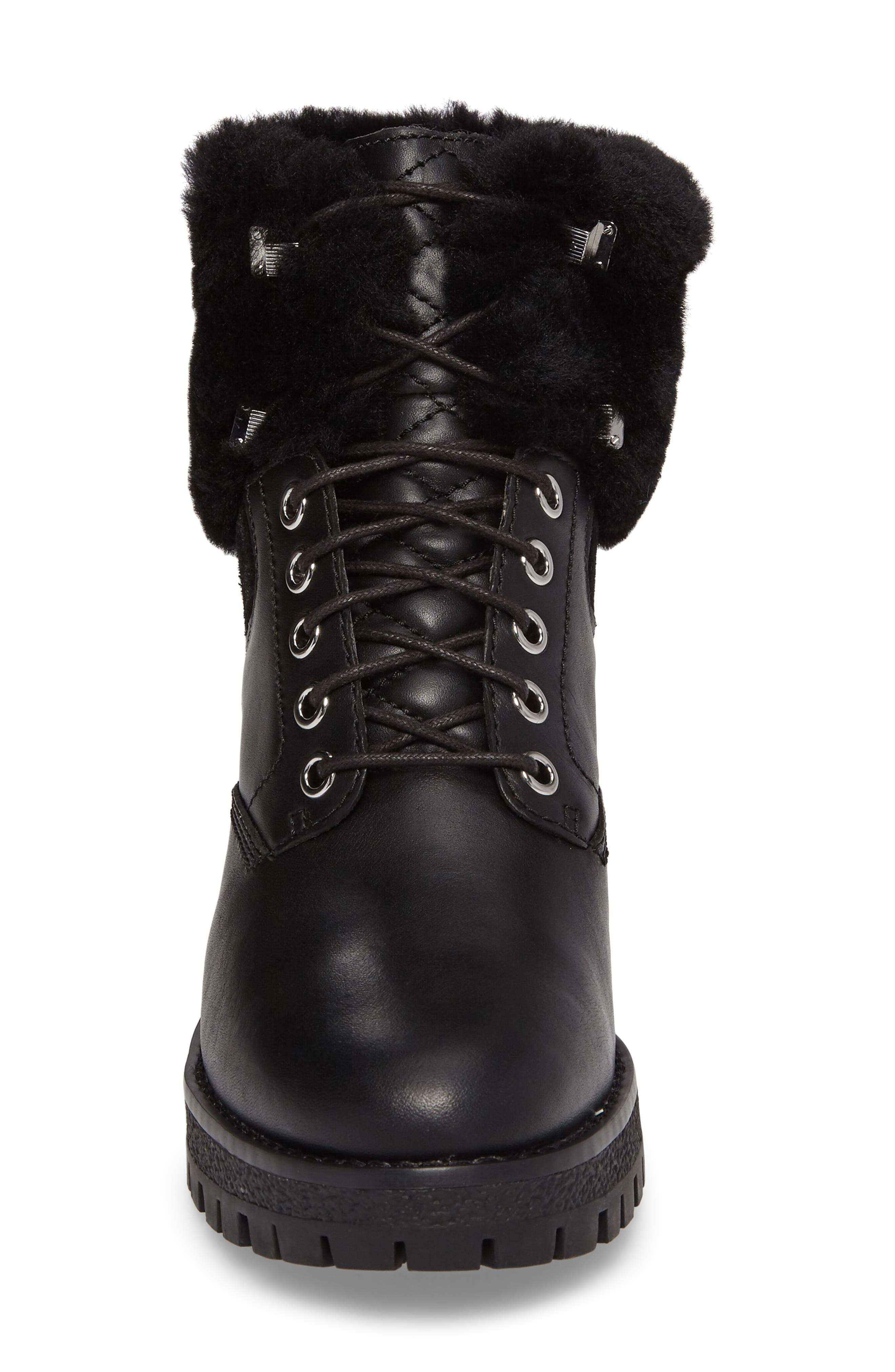 Teddy Water Resistant Boot with Genuine Shearling Trim,                             Alternate thumbnail 4, color,                             001