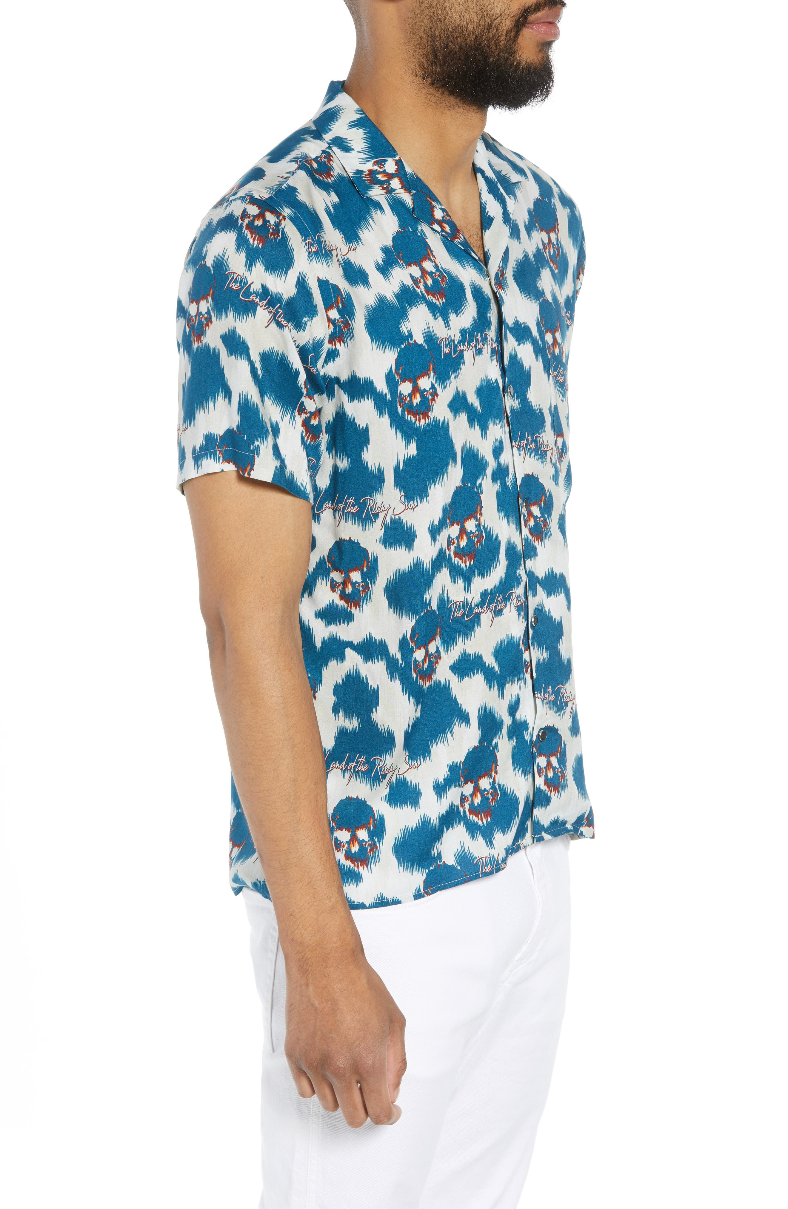 THE KOOPLES,                             Regular Fit Hawaiian Shirt,                             Alternate thumbnail 3, color,                             400