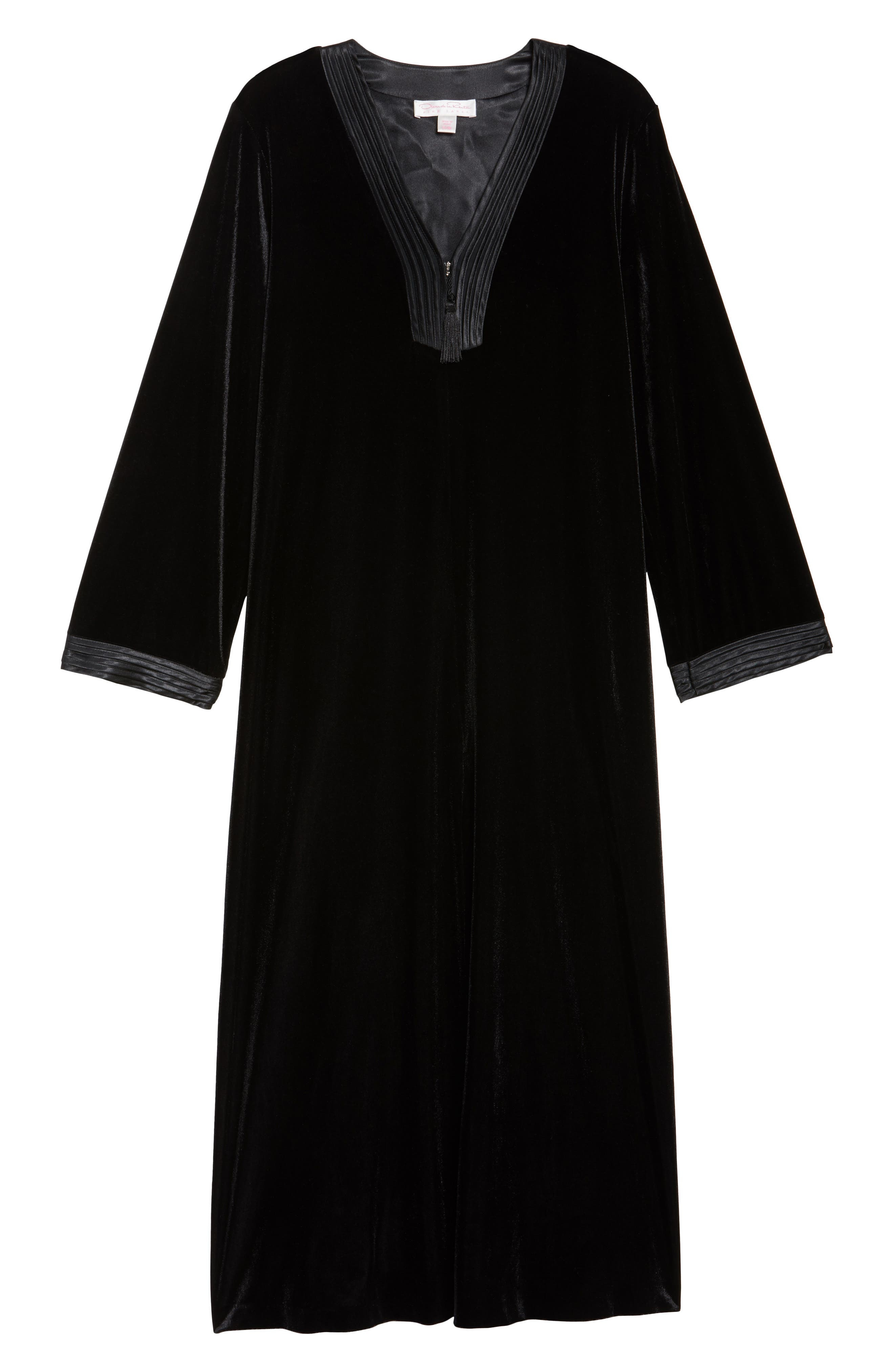Sleepwear Velvet Caftan,                             Alternate thumbnail 6, color,                             001