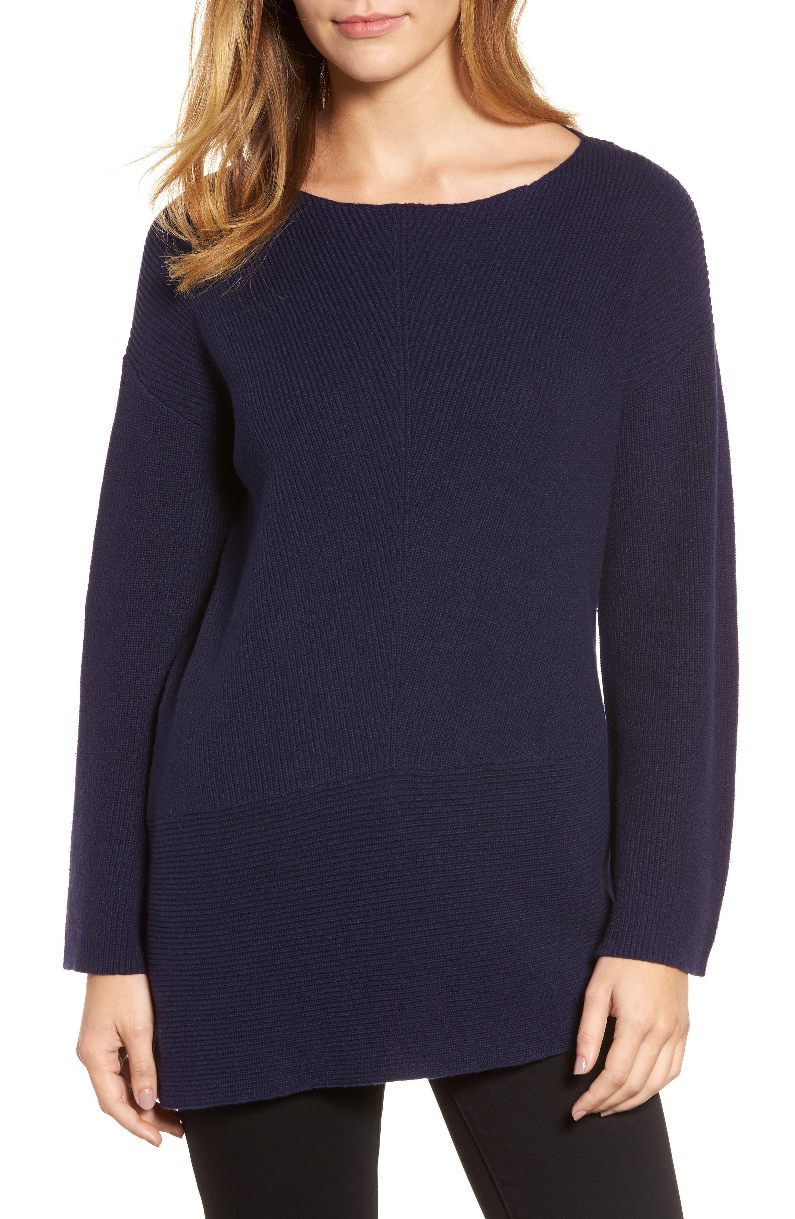 Ribbed Asymmetrical Hem Sweater,                         Main,                         color, 429