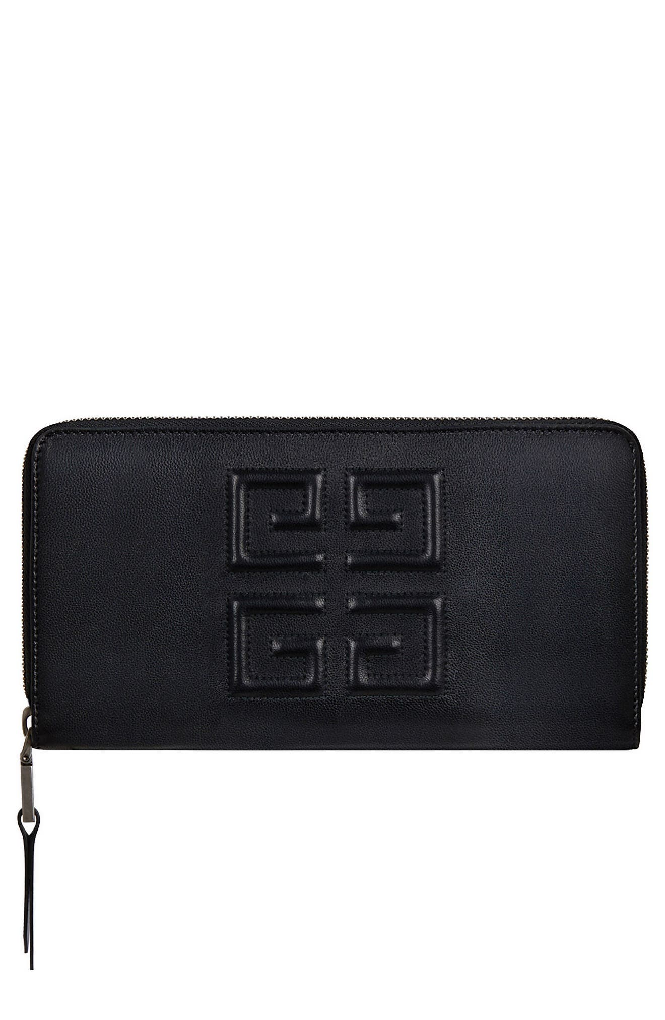 Embossed Logo Leather Zip Around Wallet,                             Main thumbnail 1, color,                             BLACK