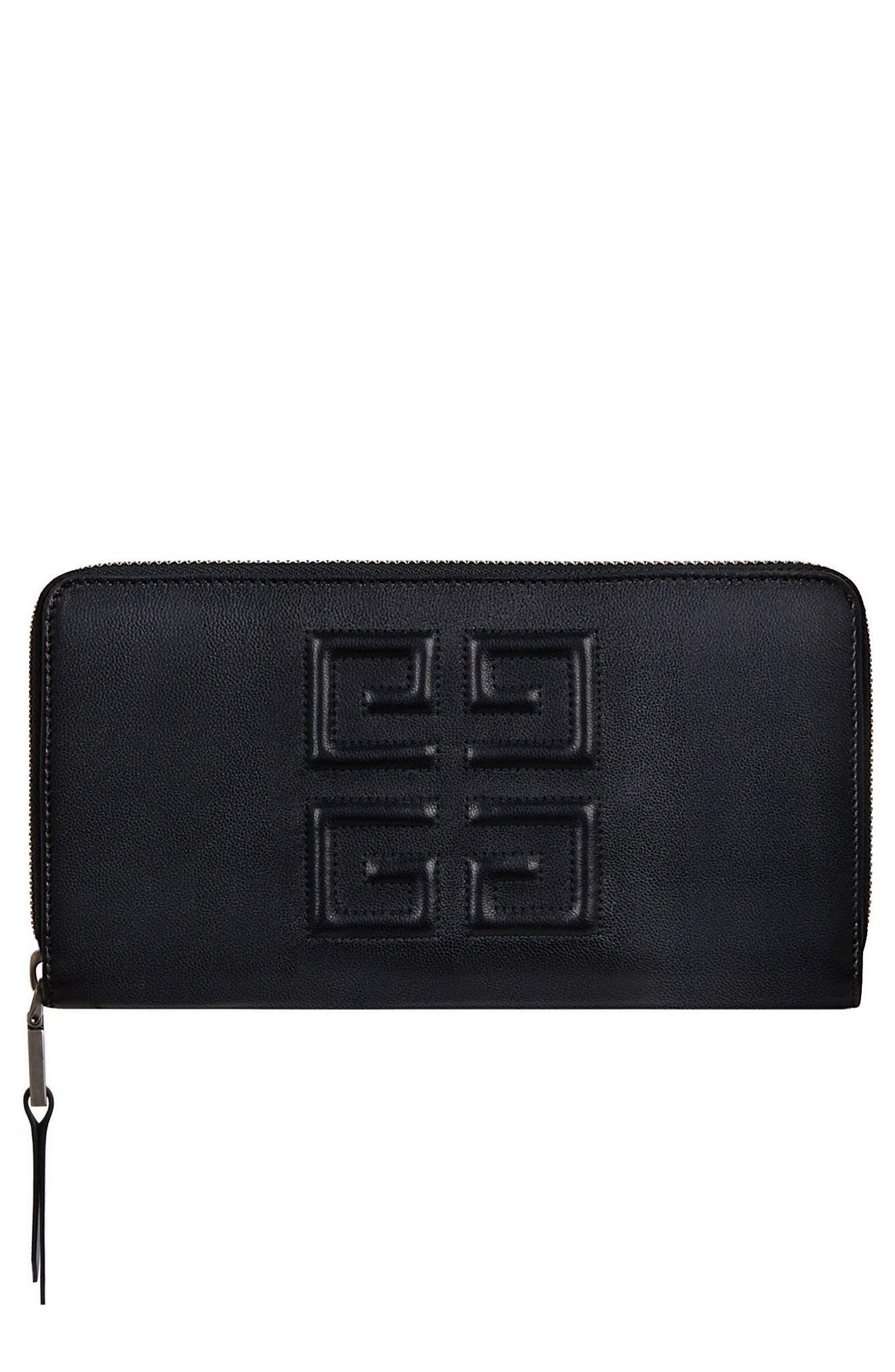 Embossed Logo Leather Zip Around Wallet,                         Main,                         color, BLACK