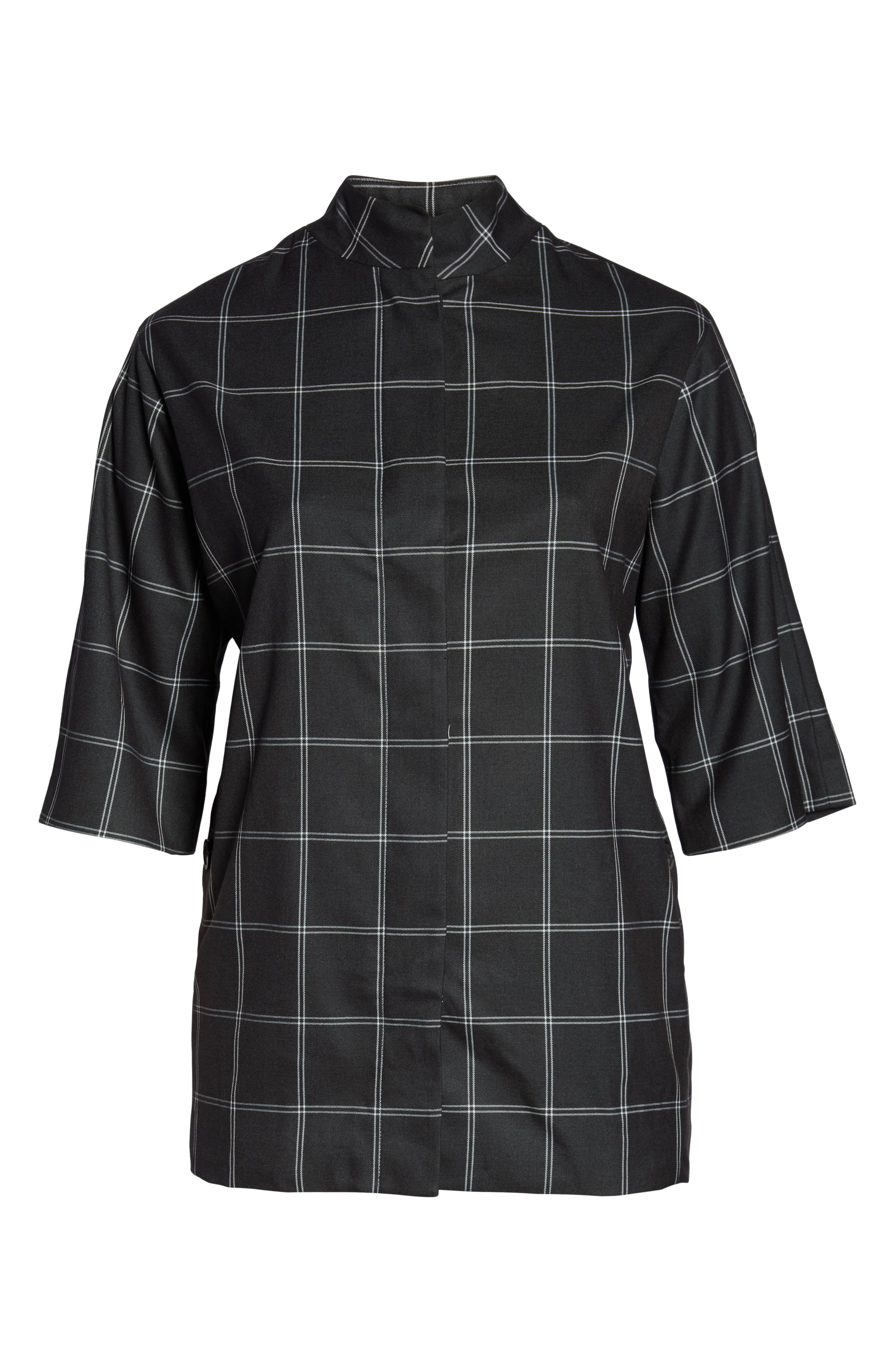 Windowpane Topper Jacket,                             Alternate thumbnail 6, color,                             GREY TWILL PLAID