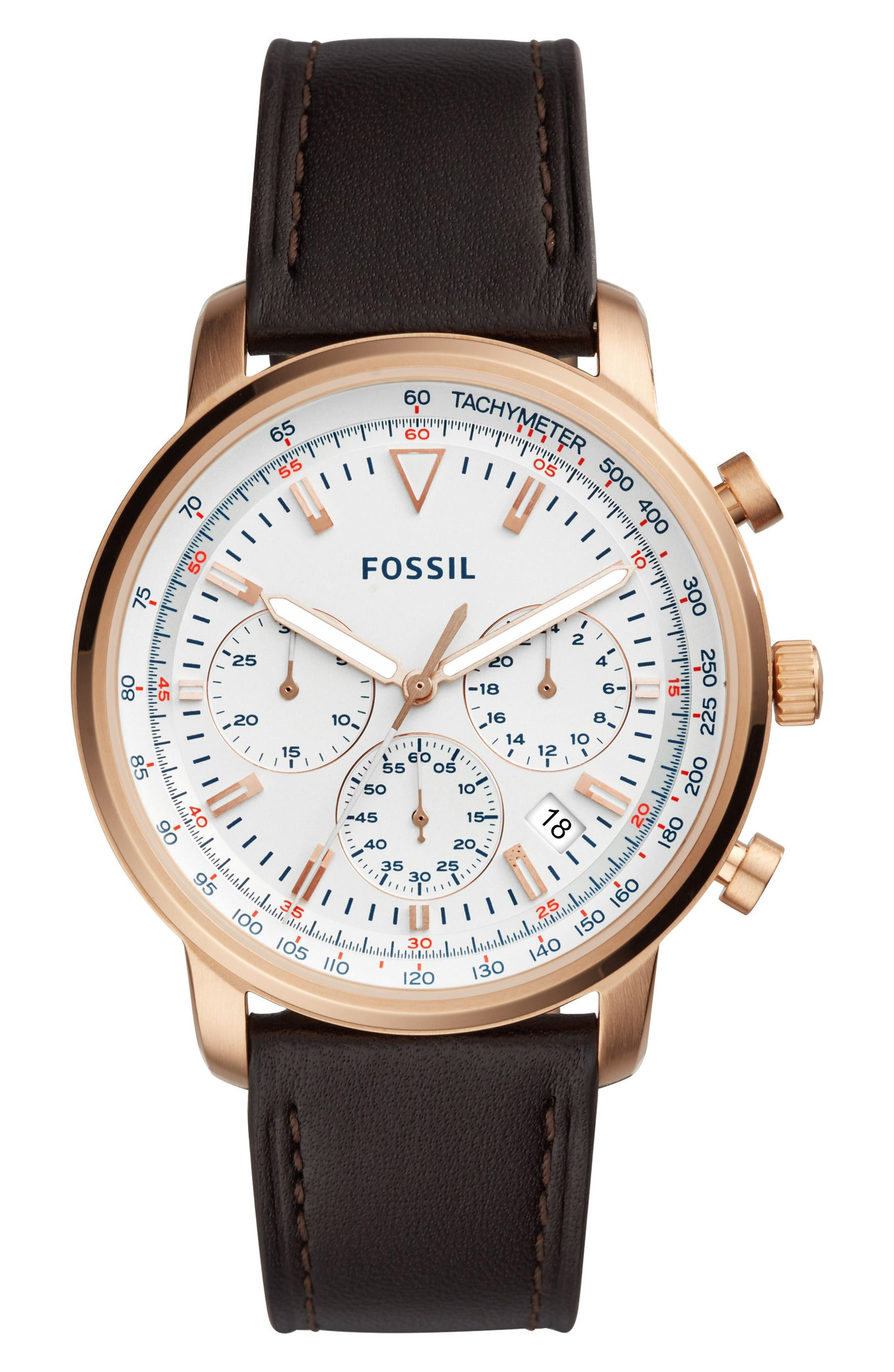 Goodwin Chronograph Leather Strap Watch, 44mm,                             Main thumbnail 1, color,                             BROWN/ WHITE/ ROSE GOLD
