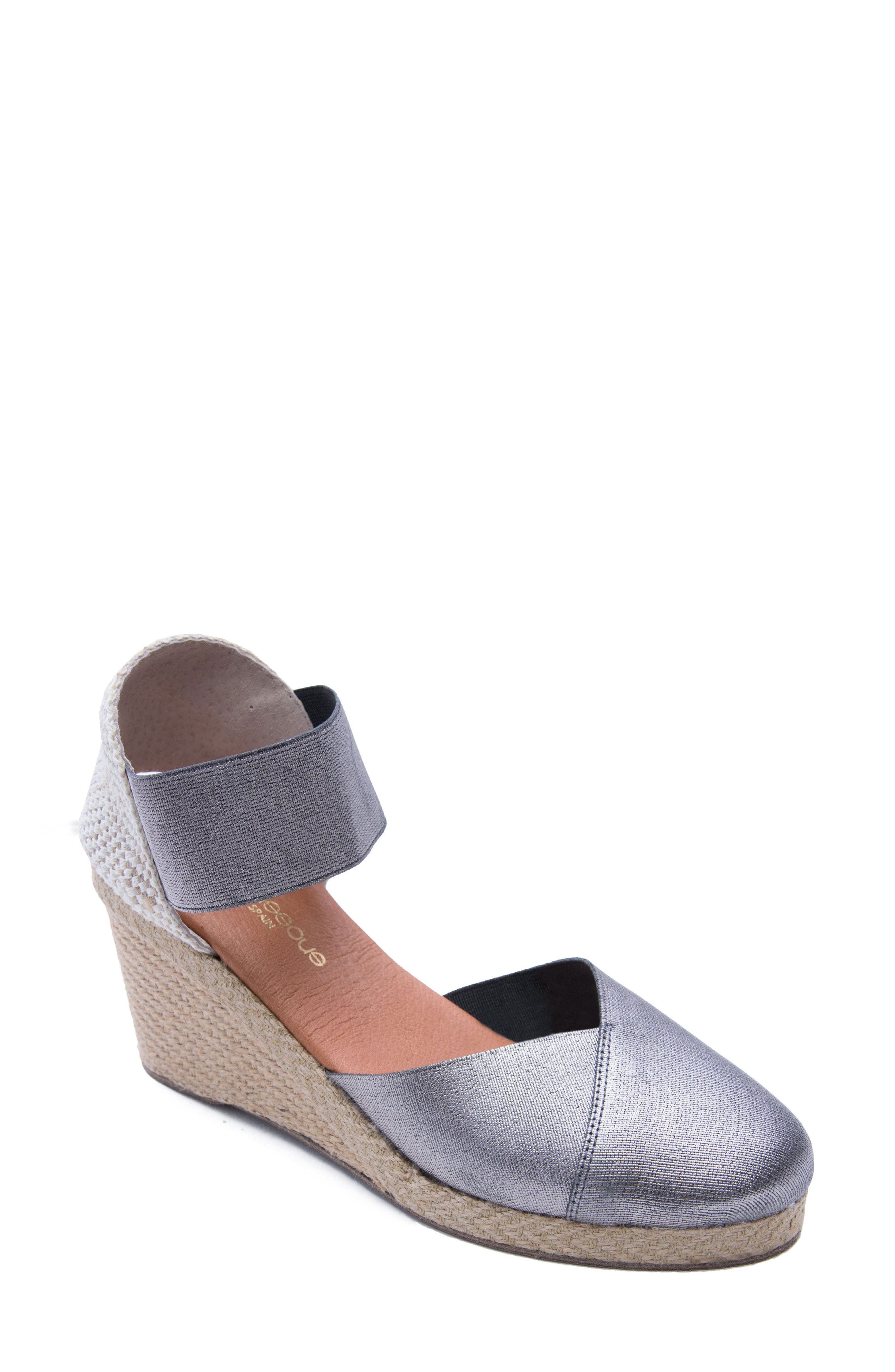 ANDRE ASSOUS Anouka Espadrille Wedge in Pewter Fabric