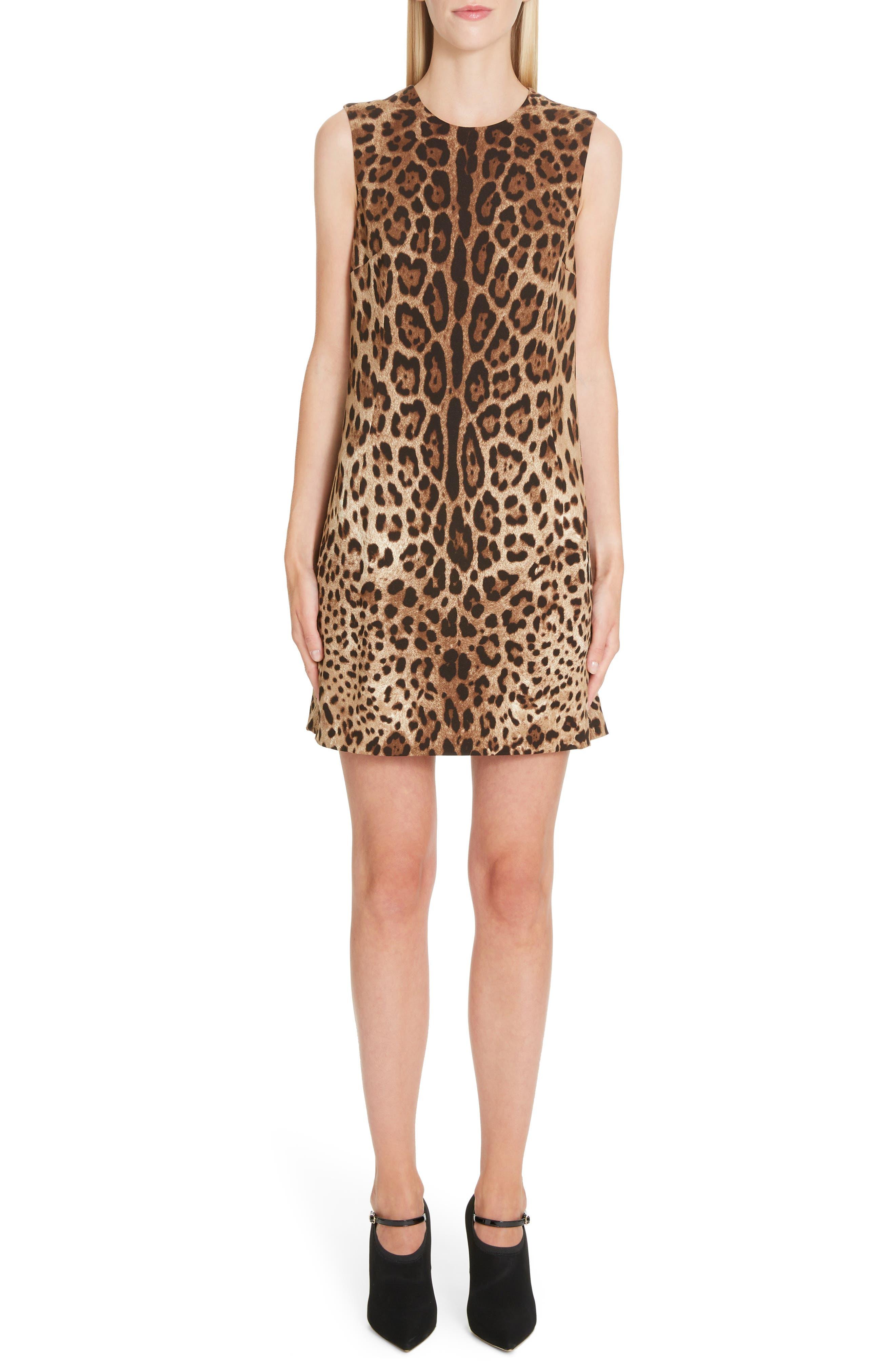 Dolce & gabbana Leopard Print Shift Dress, 8 IT - Brown
