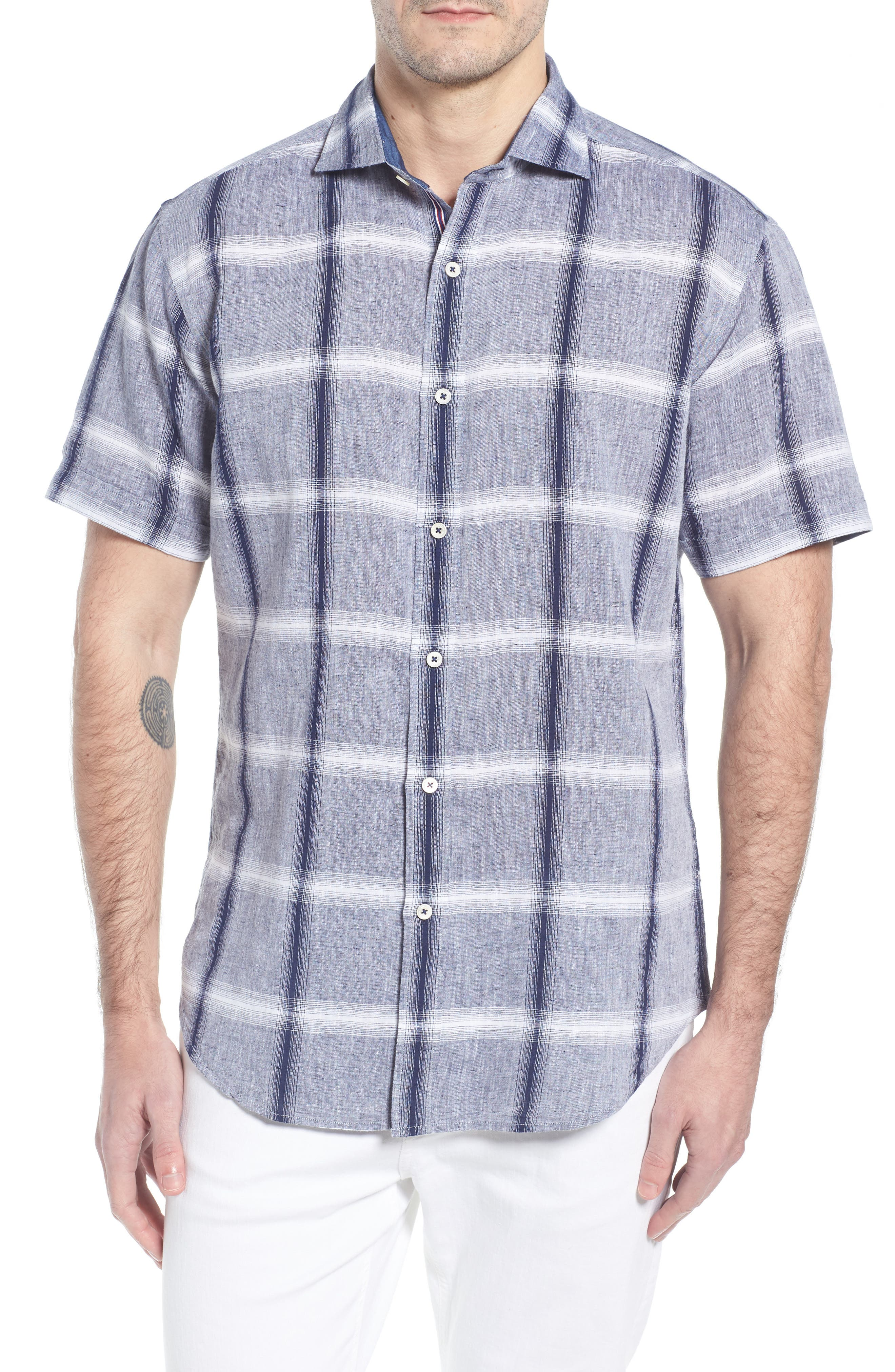 Shaped Fit Check Linen & Cotton Sport Shirt,                             Main thumbnail 1, color,                             NAVY