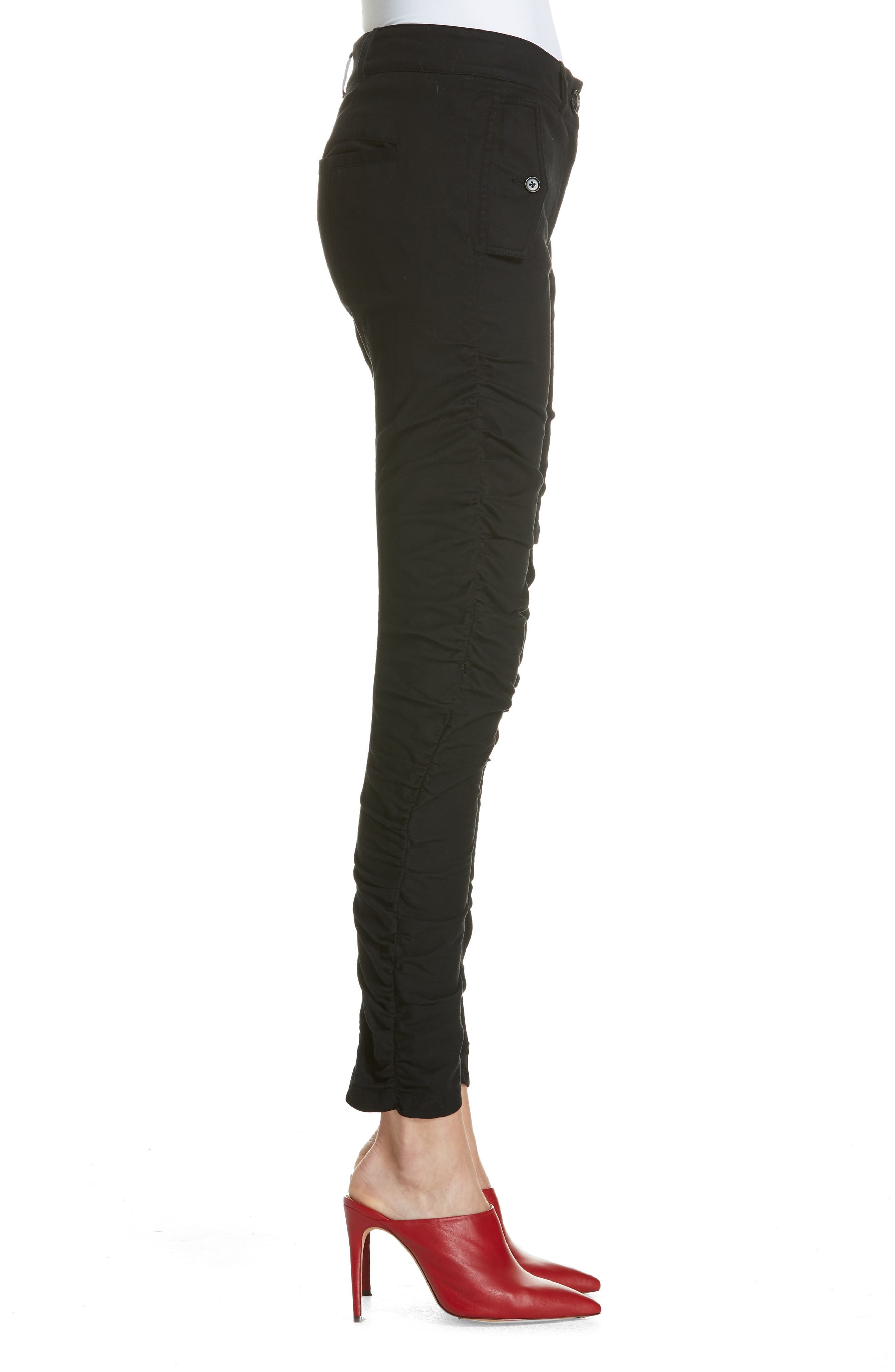 Ruched Stretch Cotton Pants,                             Alternate thumbnail 3, color,                             BLACK