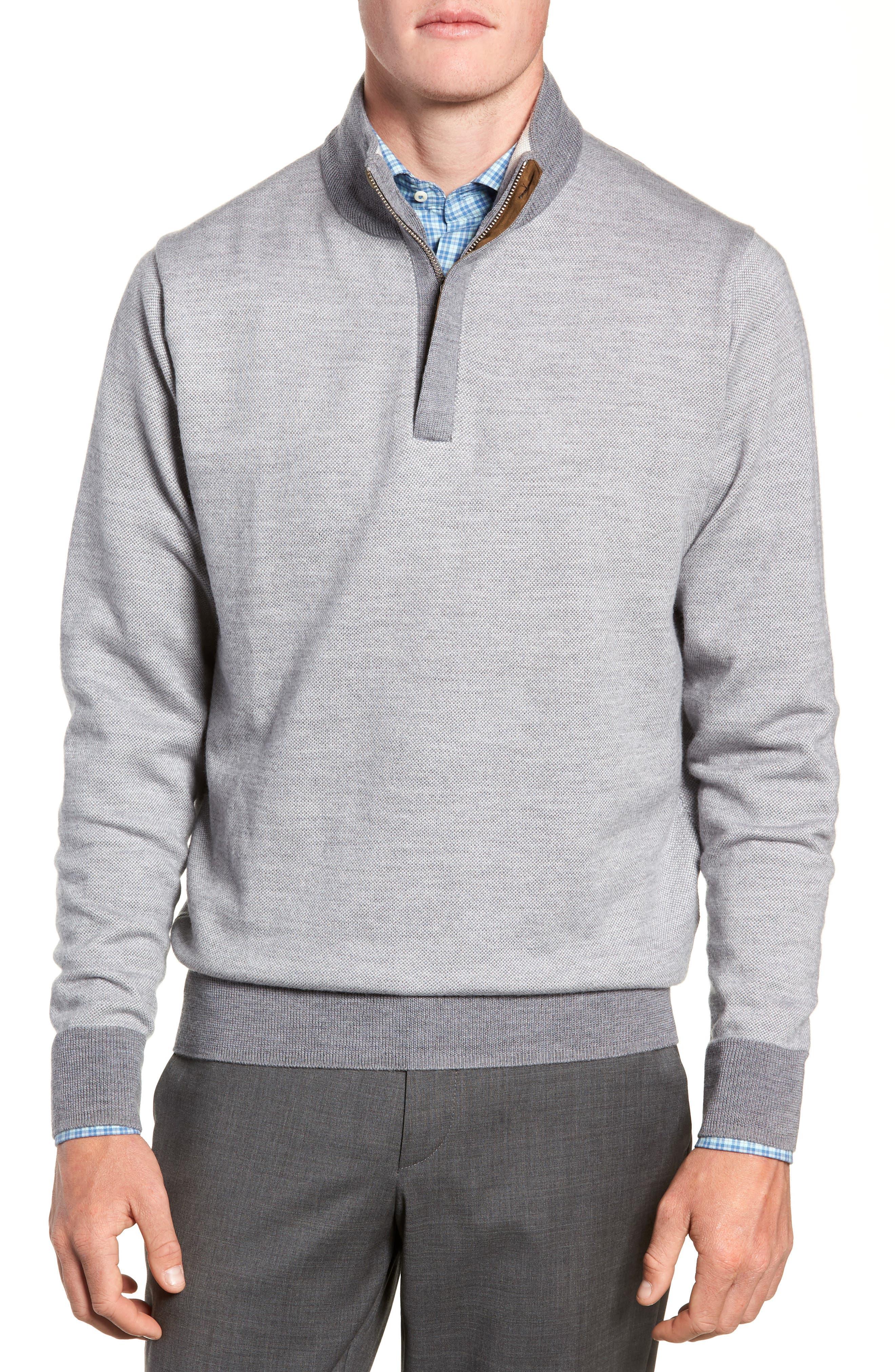 Birdseye Merino Wool Quarter Zip Sweater,                             Main thumbnail 1, color,                             BRITISH GREY