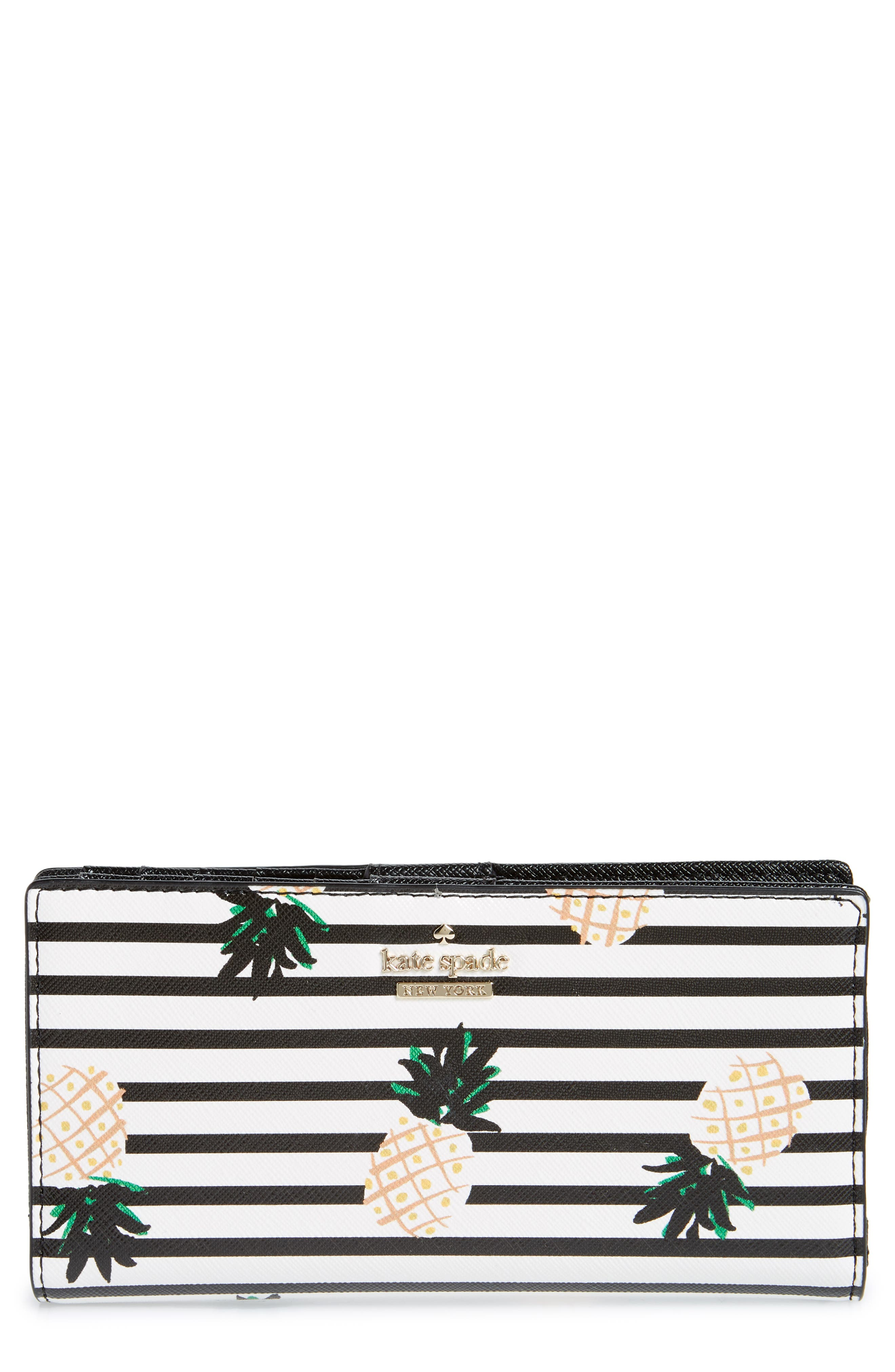 KATE SPADE NEW YORK cameron street - stacy pineapples glazed canvas wallet, Main, color, 700
